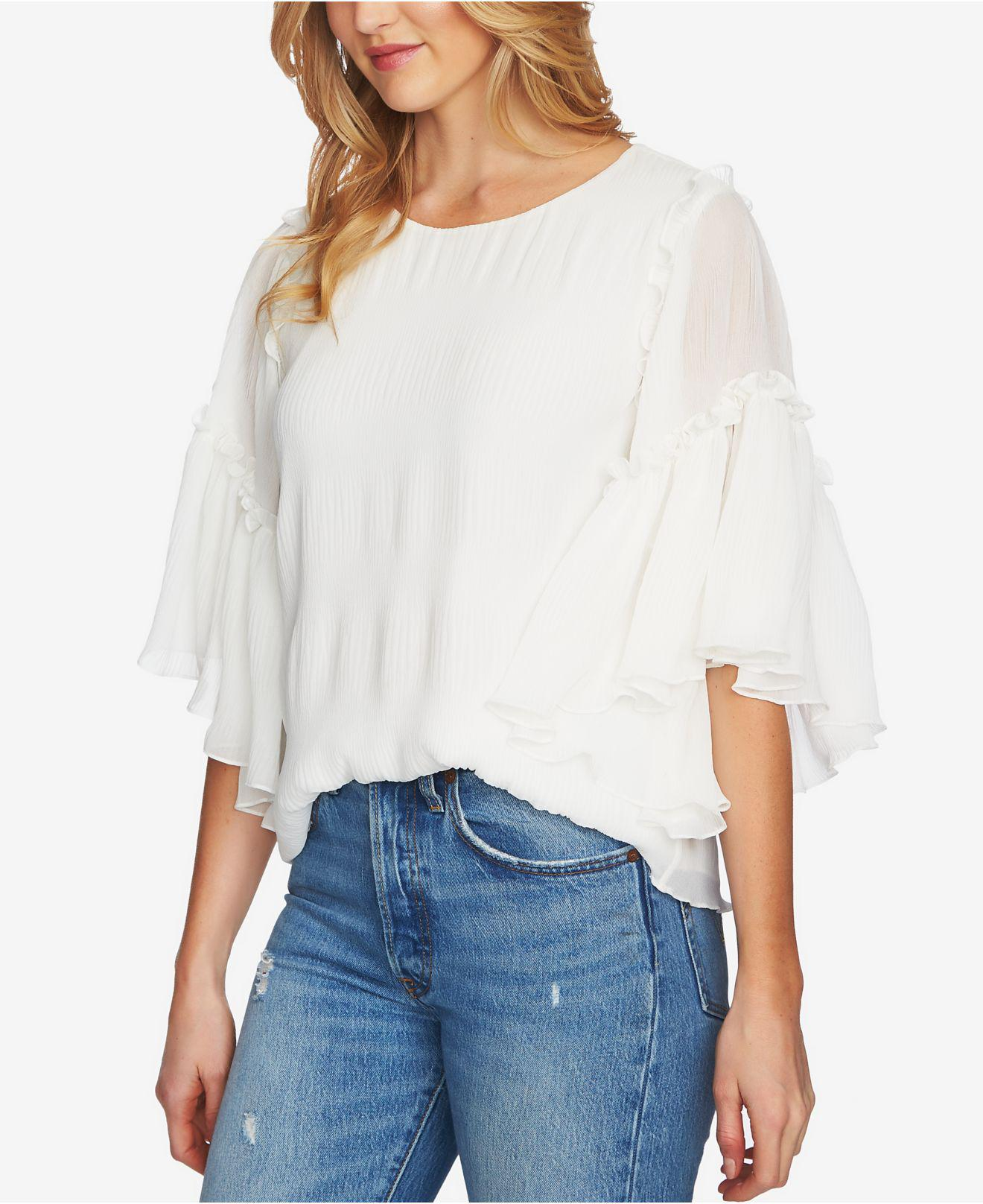 348ed5ce855 Lyst - 1.STATE Ruffled Asymmetrical-sleeve Top in White
