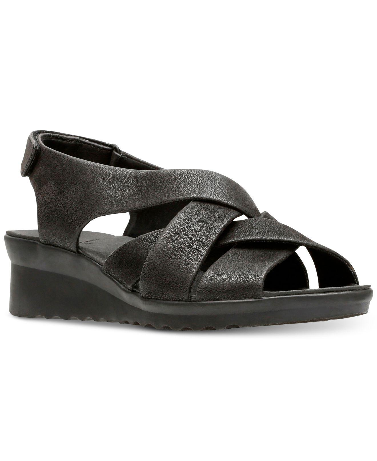 6d21d2a5603a Lyst - Clarks Cloudsteppers Caddell Jena Wedge Sandals in Black