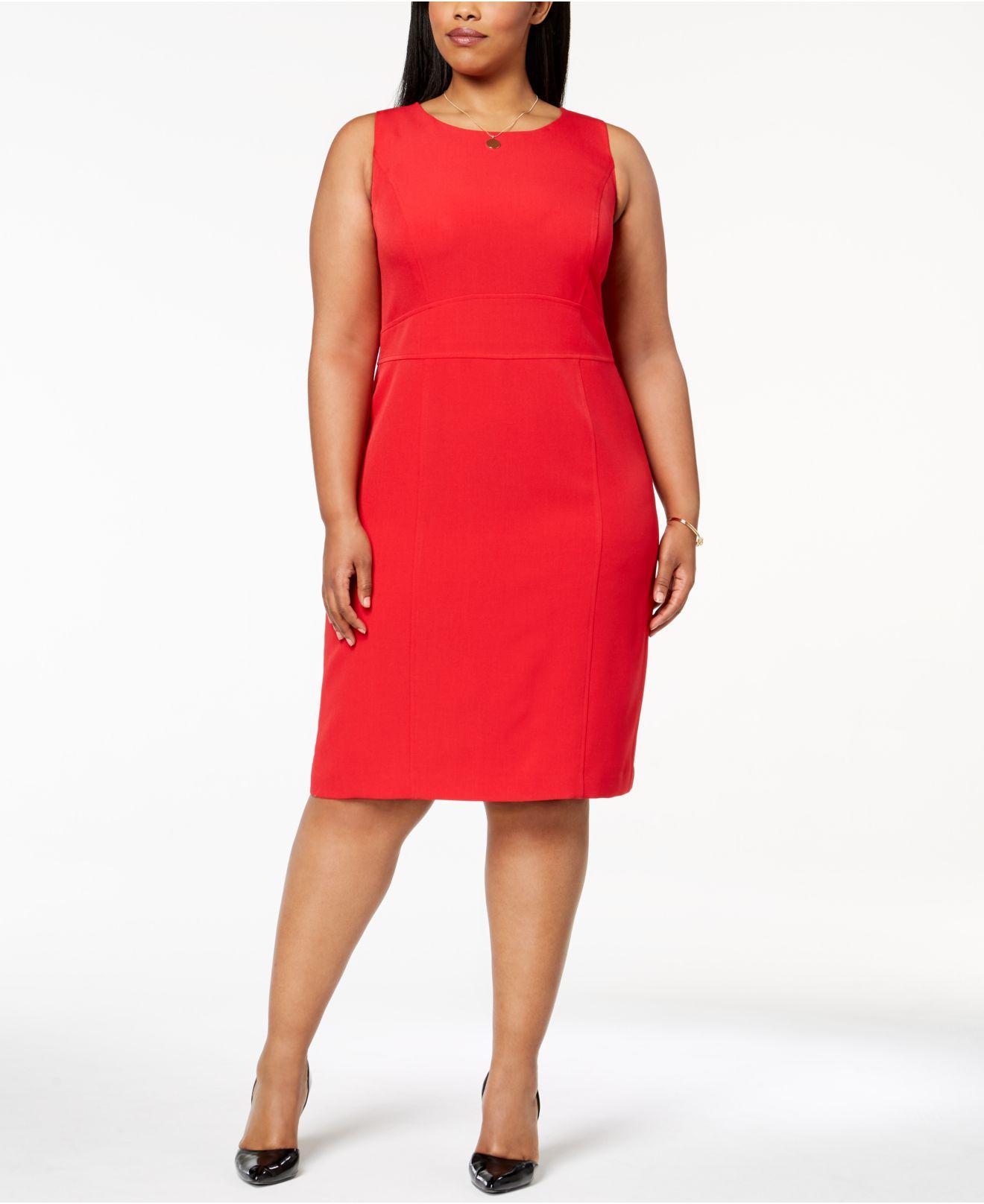 8c16e871e9 Lyst - Kasper Plus Size Stretch Crepe Sheath Dress in Red