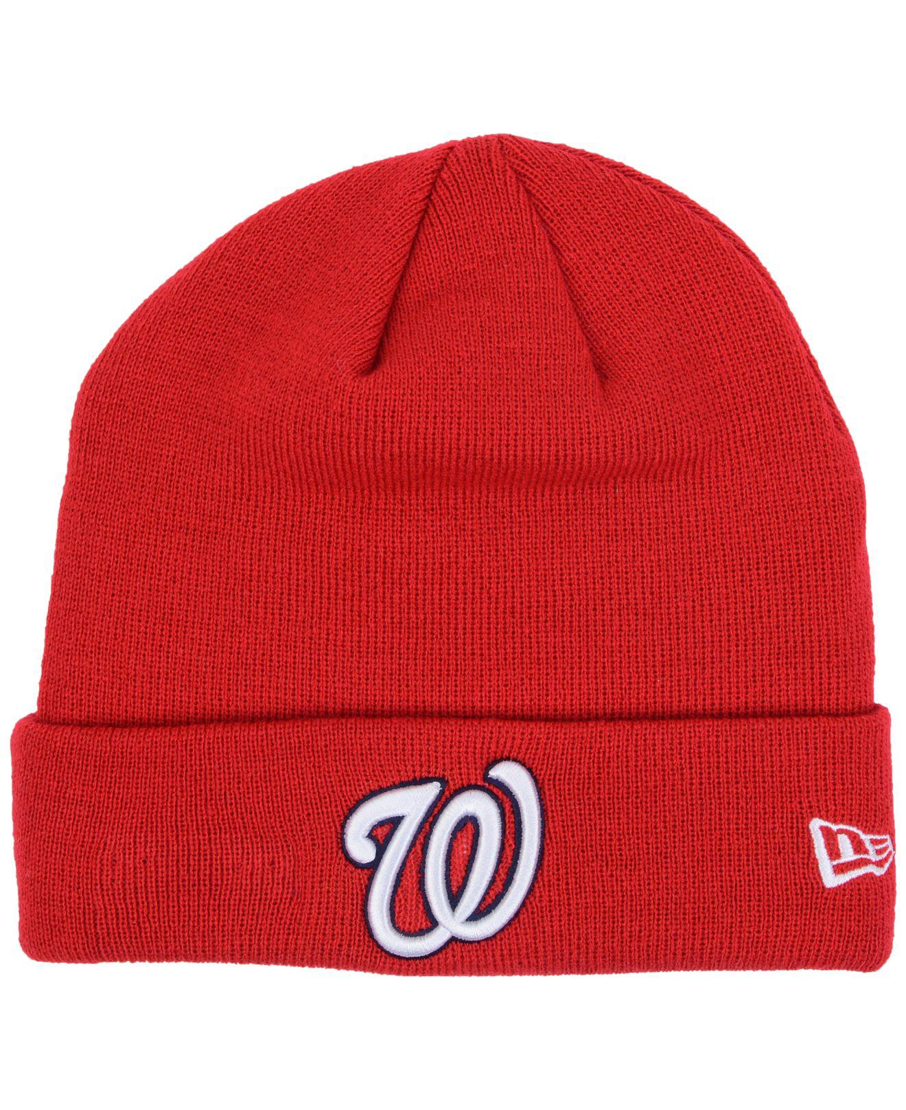 88a0cd48e02 Lyst - KTZ Washington Nationals Basic Cuffed Knit Hat in Red for Men
