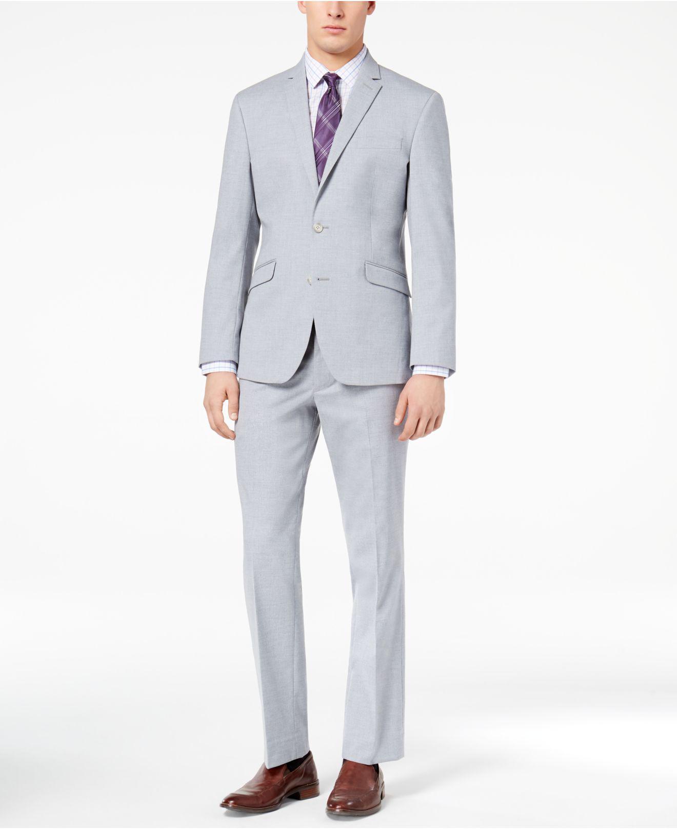 Kenneth Cole Reaction. Men s Techni-cole Slim-fit Stretch Light Blue  Sharkskin Suit f8ca8aa35