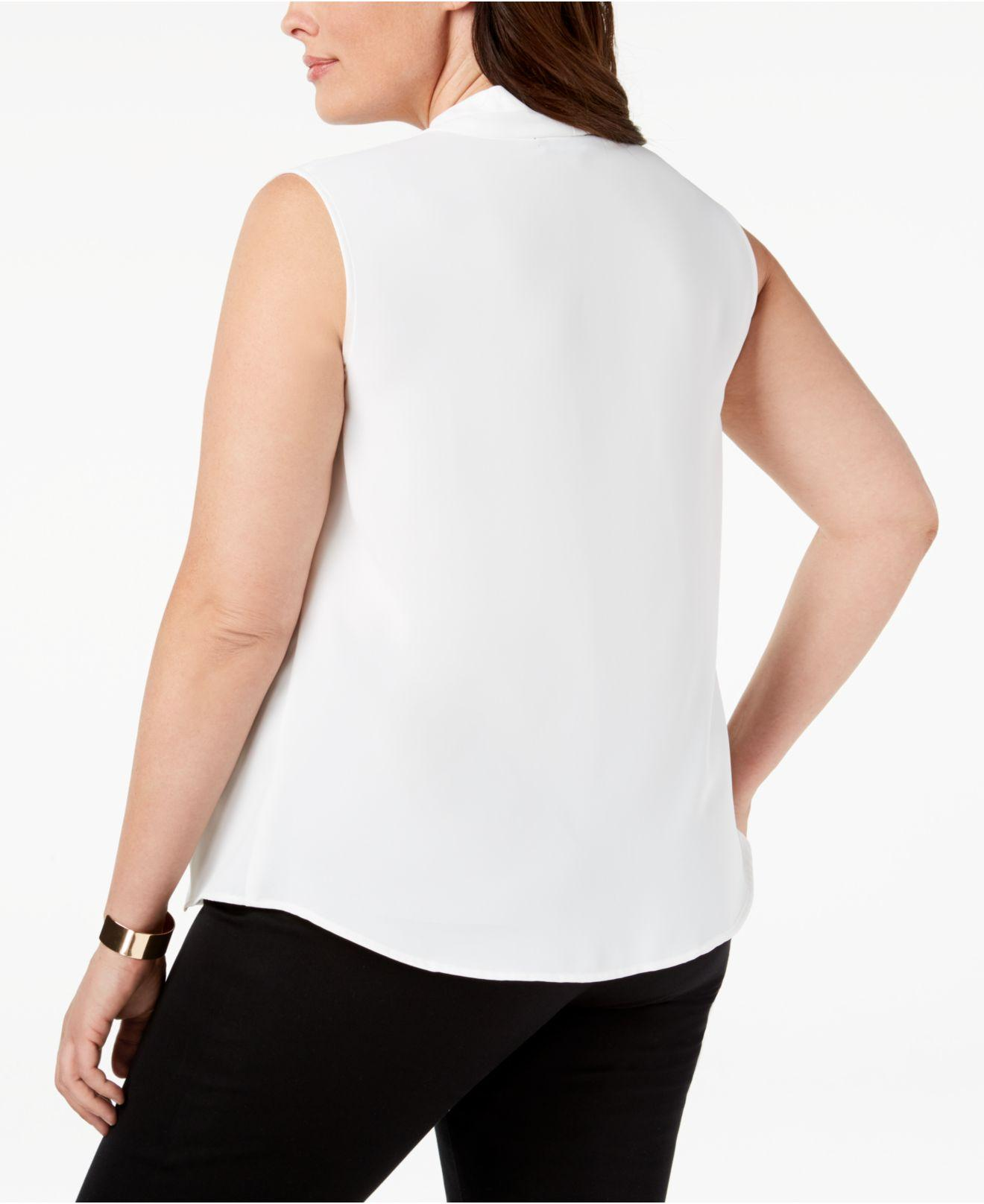 af2be8f414b Lyst - Nine West Plus Size V-neck Pleat Top in White