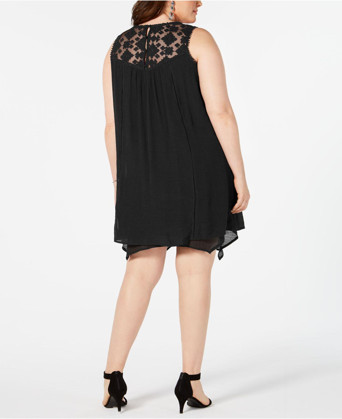 Style & Co. Black Plus Size Embroidered Dress, Created For Macy\'s