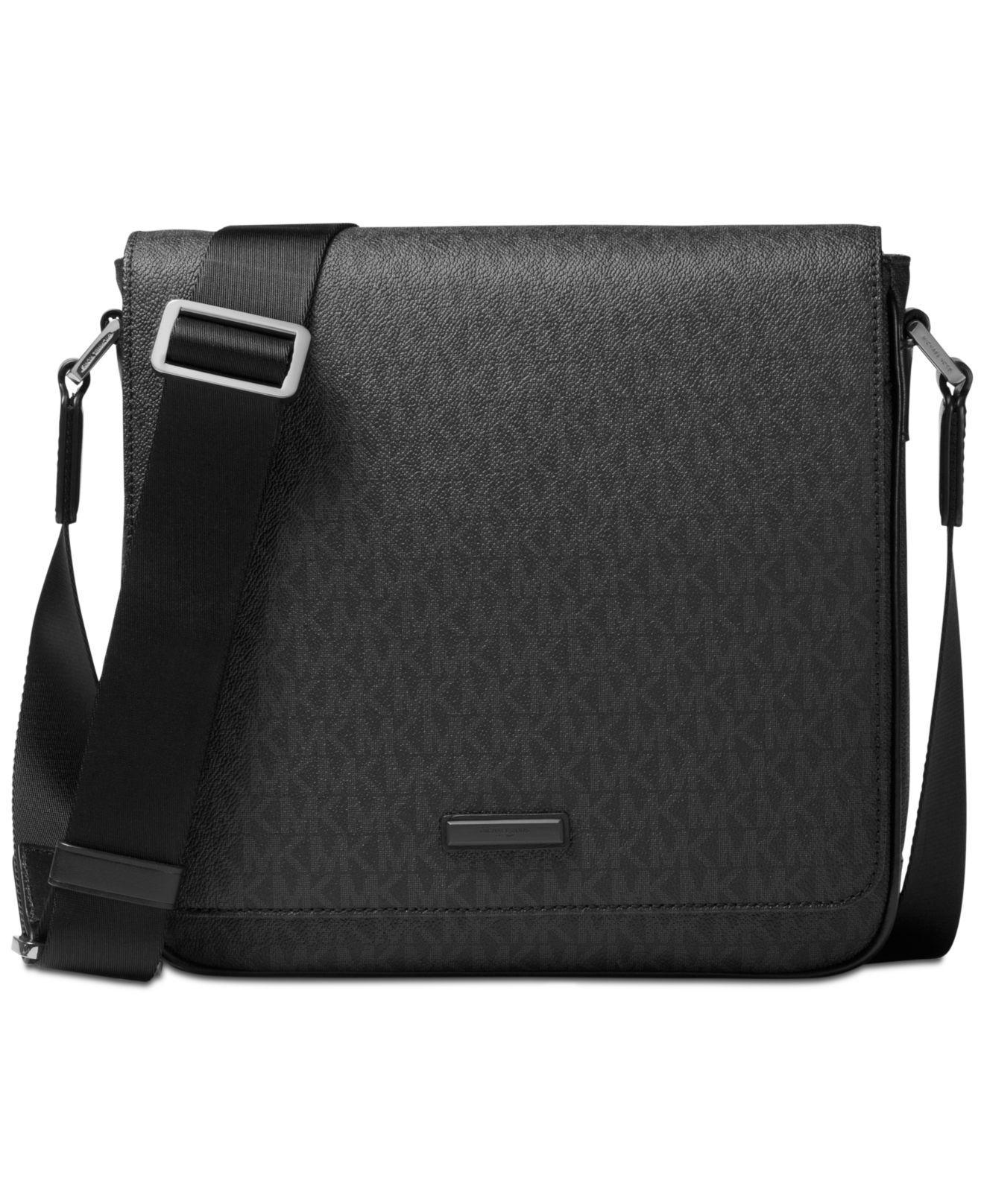 e0e7d1fc1b ... promo code for michael kors black logo print messenger bag for men  lyst. view fullscreen