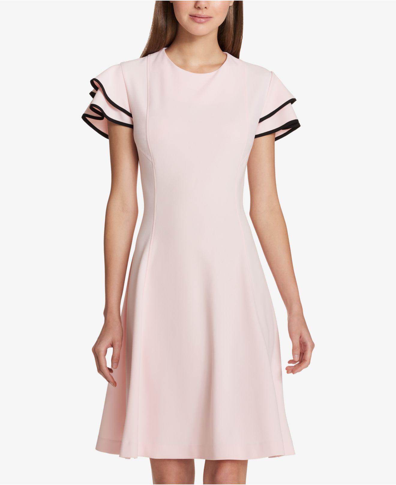 9bfbea88 Tommy Hilfiger Flutter-sleeve Fit & Flare Dress in Pink - Lyst