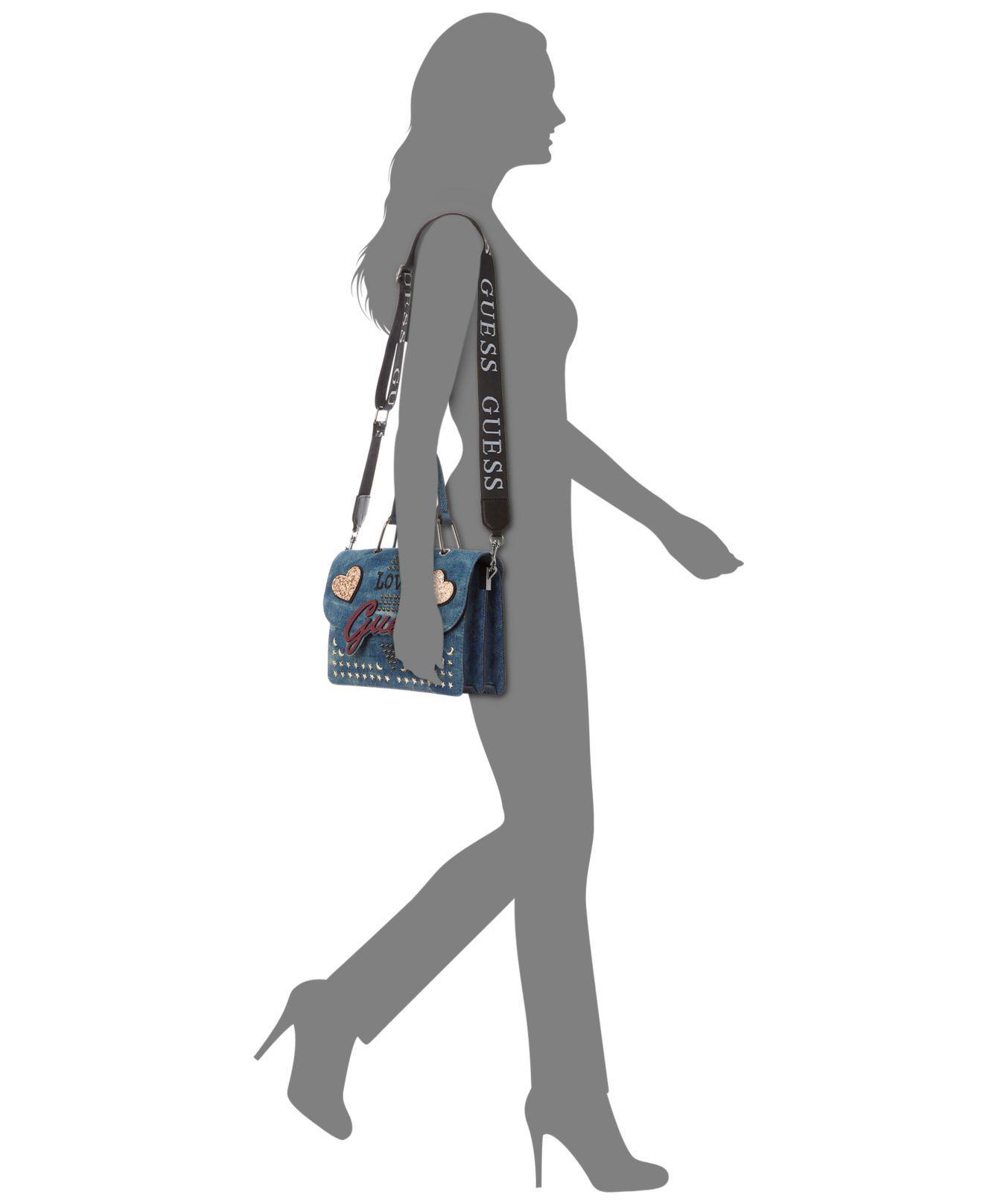 5ac61cda03 Lyst - Guess In Love Top Handle Denim Shoulder Bag in Blue