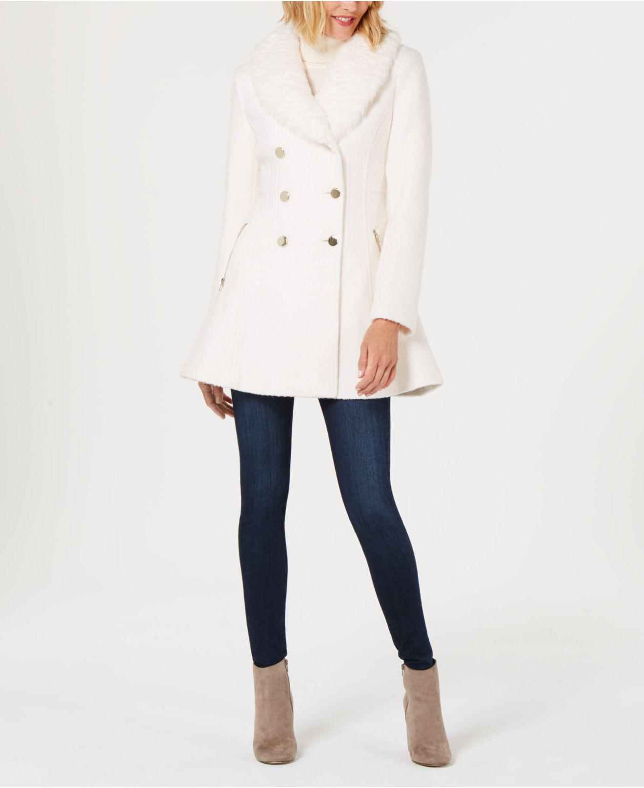 Guess Faux Fur Collar Skirted Coat In White Lyst
