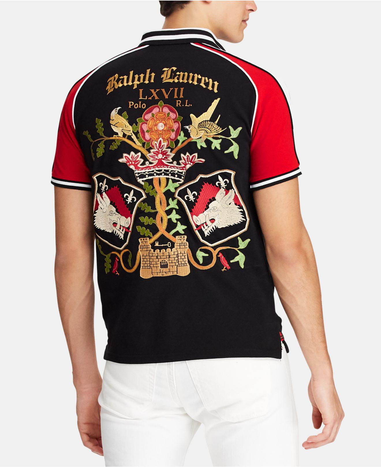 e9280129339e Lyst - Polo Ralph Lauren Rose And Boar Embroidered Cotton-piqué Polo Shirt  in Black for Men - Save 25%