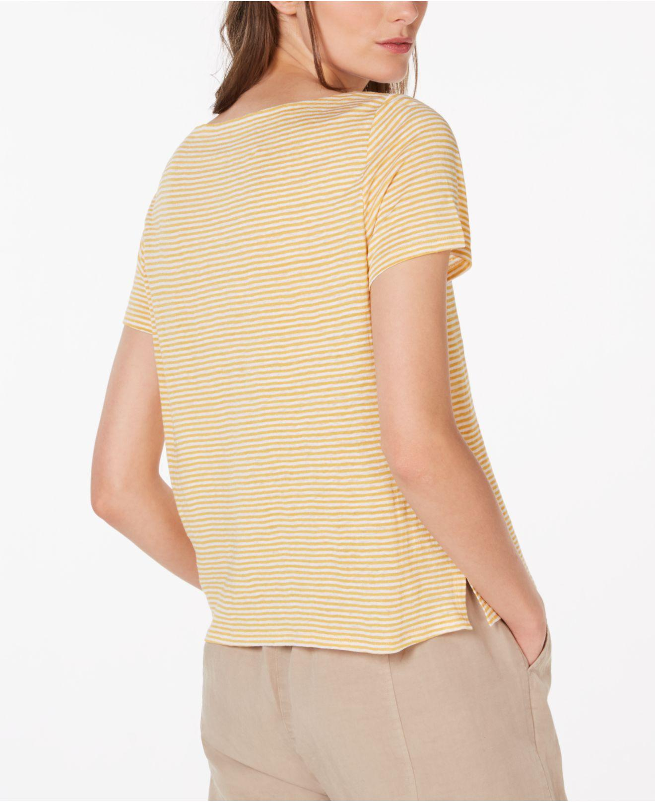 4198c2444a0 Lyst - Eileen Fisher Square-neck Short-sleeve Striped Jersey Linen Tee -  Save 11%