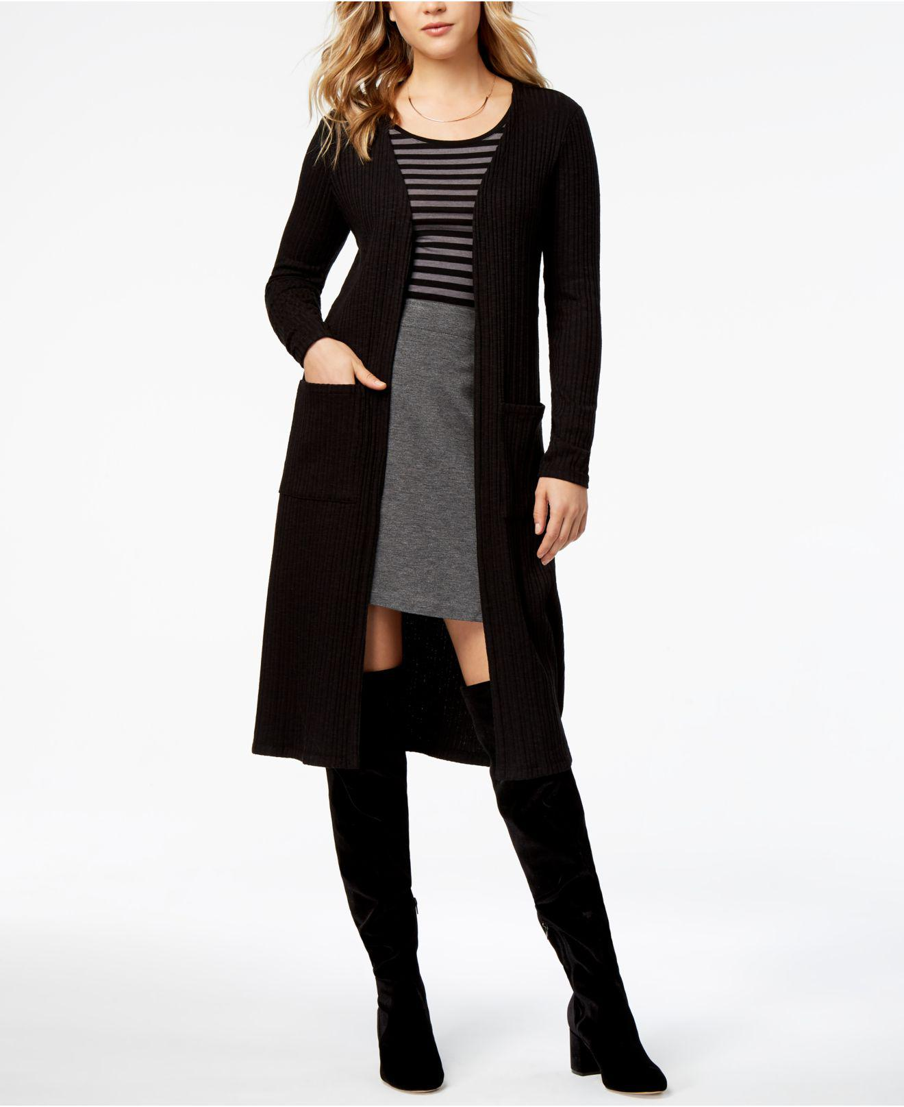 Kensie Ribbed Duster Cardigan in Black | Lyst