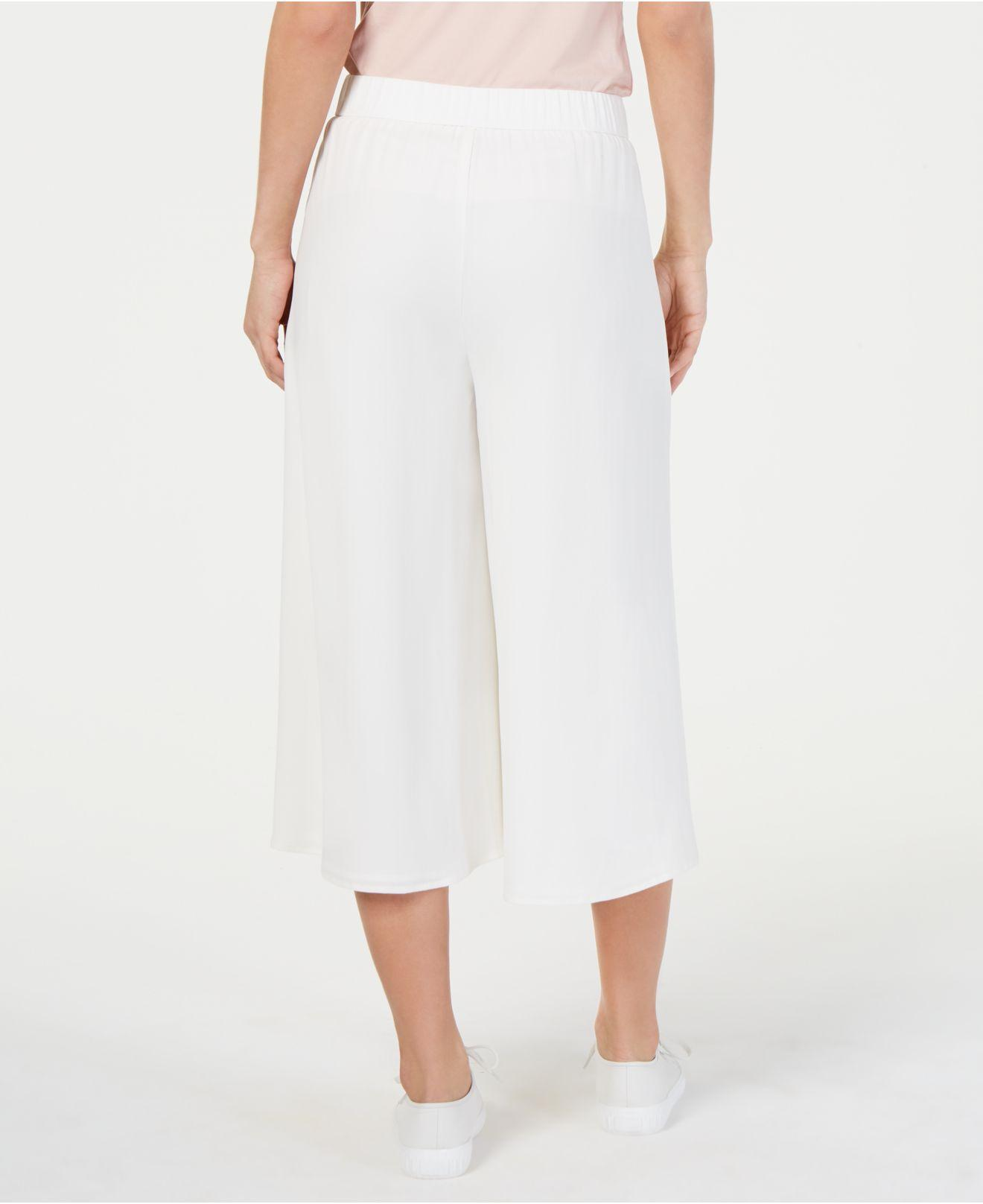 faccdccdb09 Lyst - Eileen Fisher Wide-leg Silk Culottes in White - Save 22%