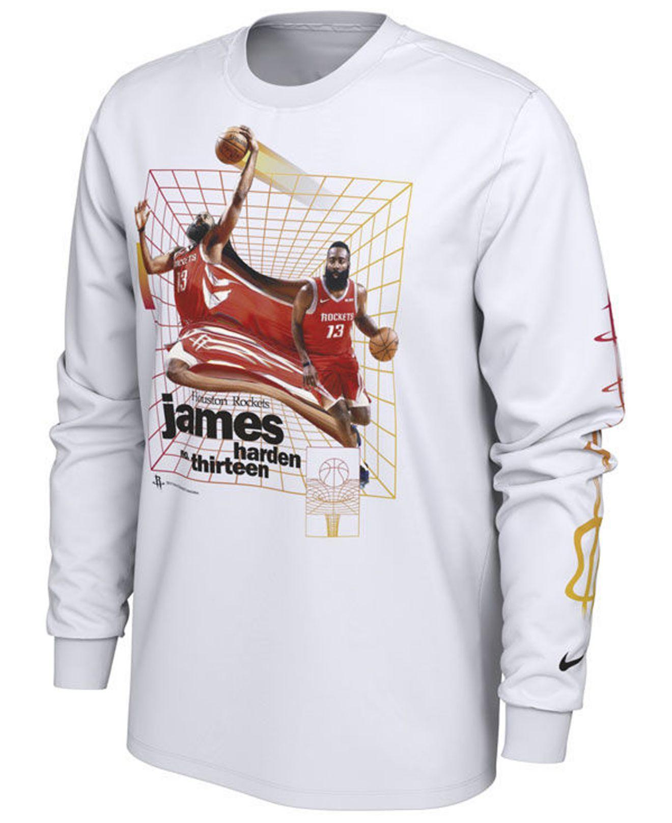 3e4aa87df5a Nike. Men s White James Harden Houston Rockets Time Warp Player Photo Long  Sleeve T-shirt