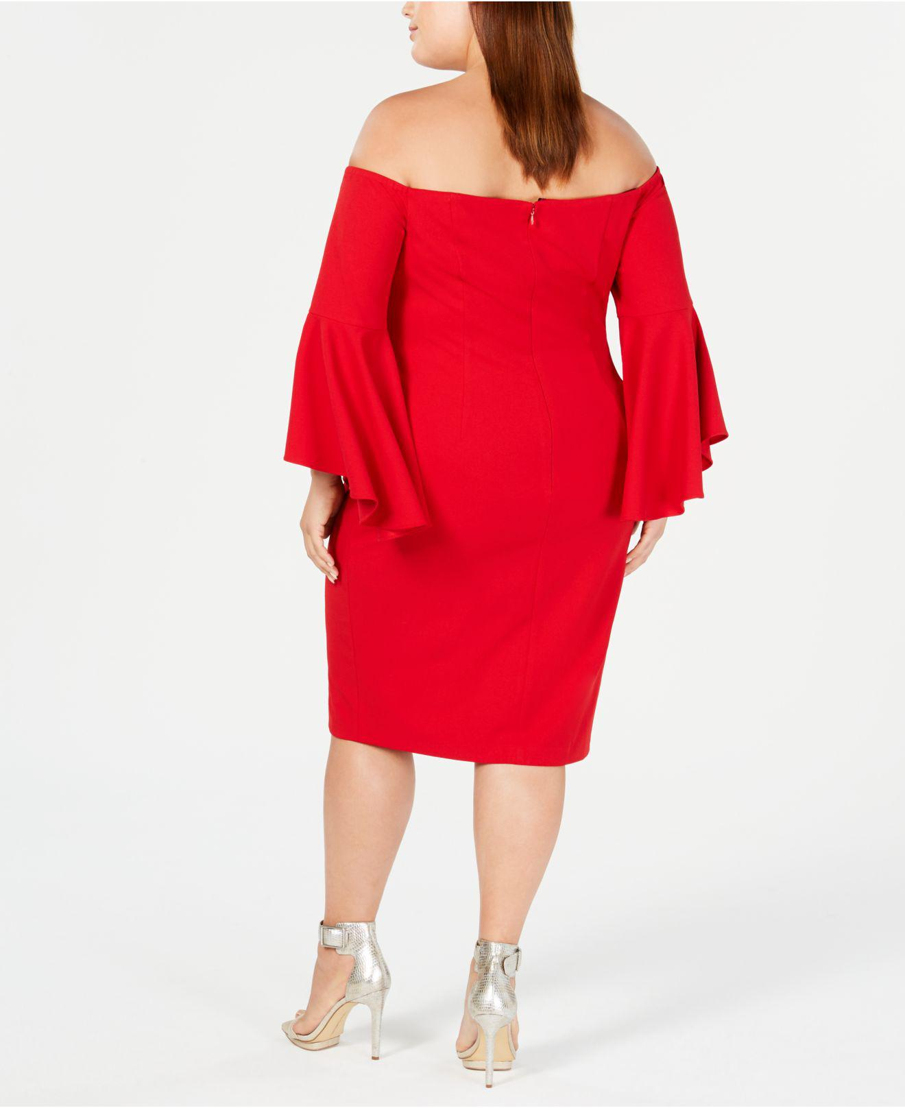 b55eb20a47eea Lyst - Calvin Klein Plus Size Off-the-shoulder Crepe Dress in Red
