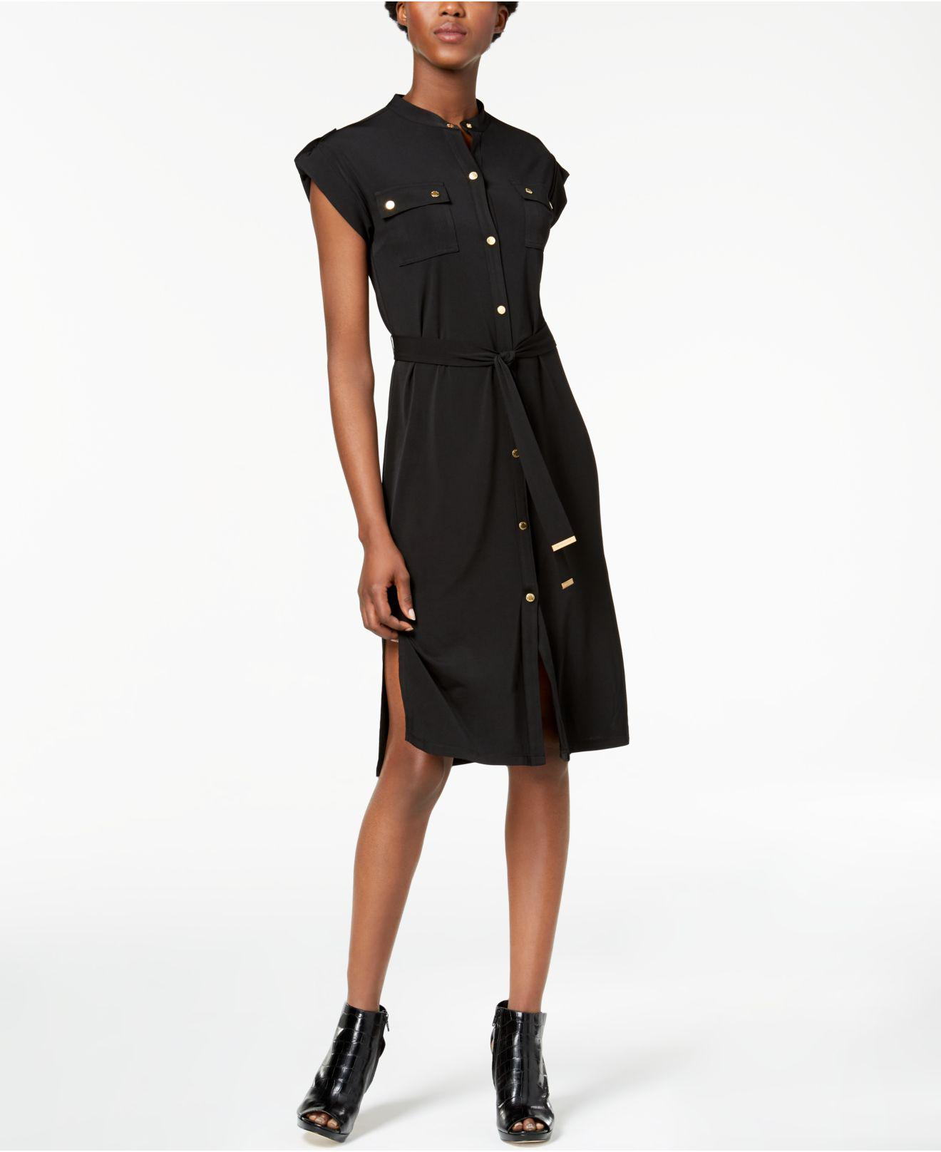 Michael kors petite sleeveless snap button shirtdress for How to get a job at michaels craft store