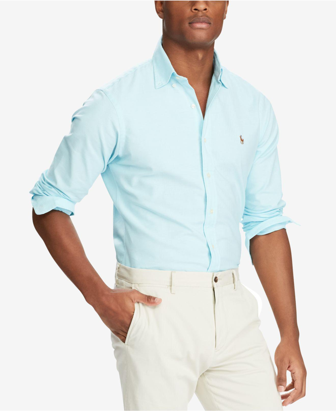 f6aaafeaaae Lyst - Polo Ralph Lauren Slim-fit Stretch-oxford Shirt in Blue for Men