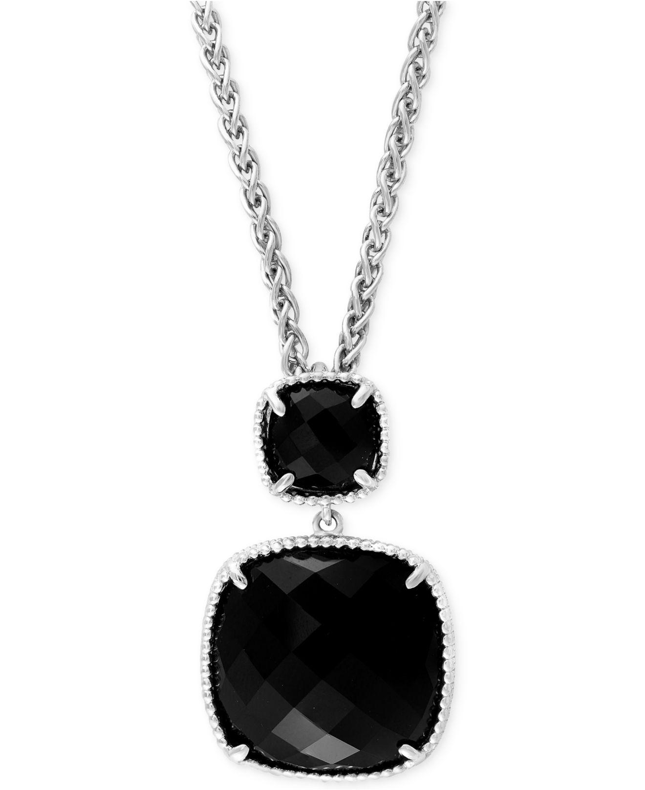 Lyst effy collection black onyx 14 45 ct tw pendant necklace effy collection womens black onyx aloadofball Images