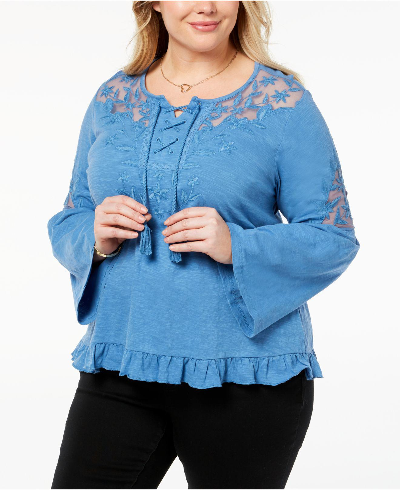 17843d7219d88 Lyst - Style   Co. Plus Size Lace-up Embroidered Peasant Top ...
