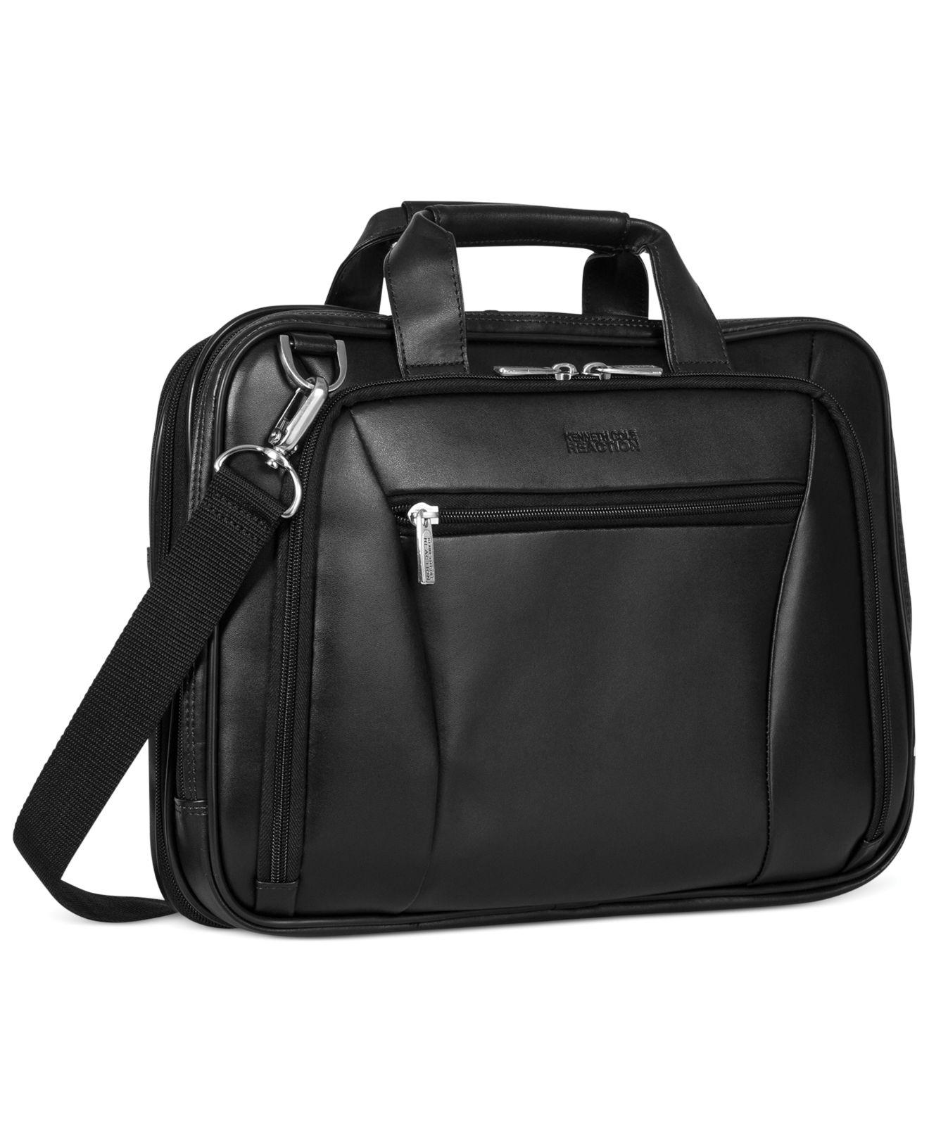 3fca6439adc7 Kenneth Cole Reaction Leather Double Gusset Laptop Brief in Black ...