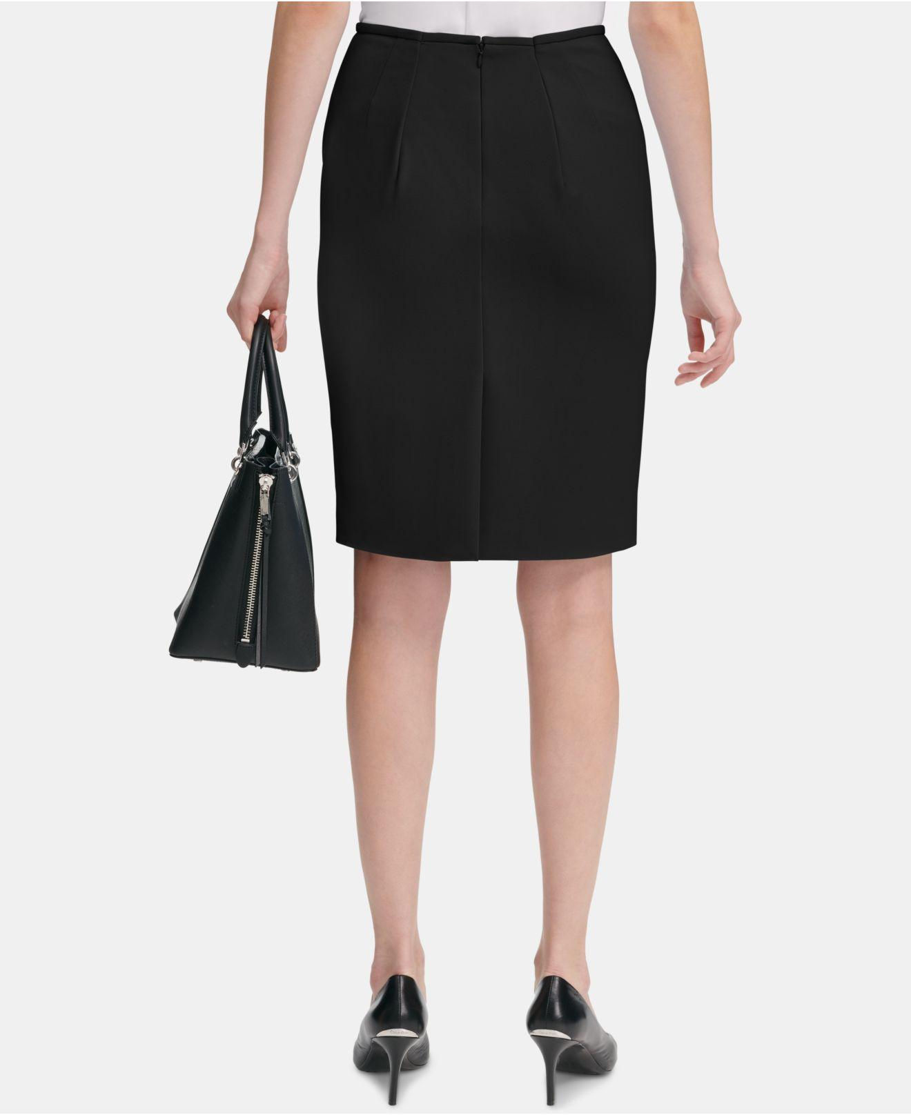 18dcdaabd5 Lyst - Calvin Klein Scuba Crepe Pencil Skirt in Black