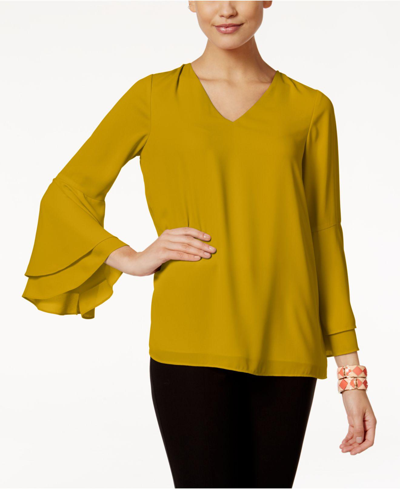 Lyst Alfani V Neck Poet Sleeve Top Created For Macy S In Yellow
