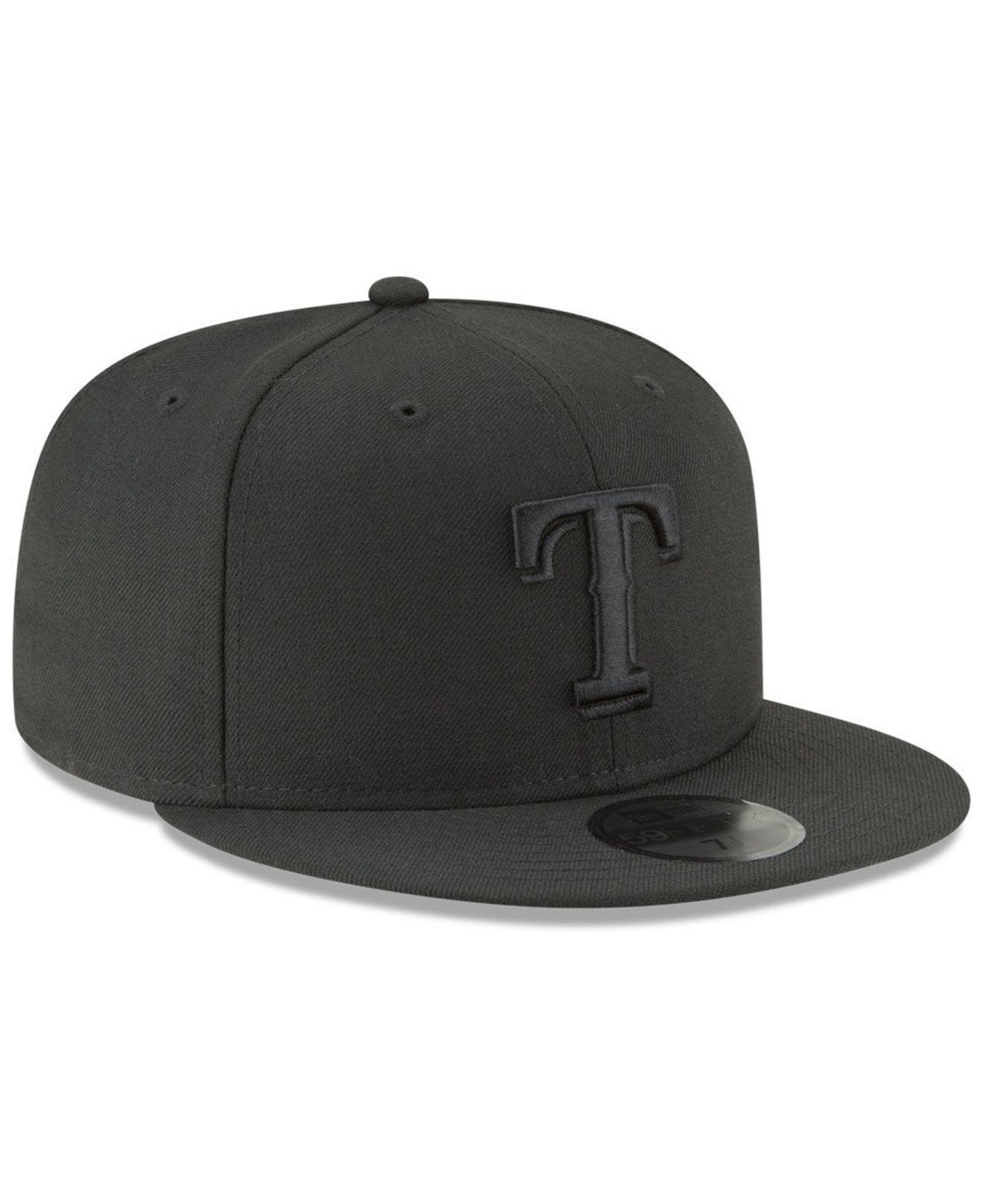 a37356845fd KTZ - Texas Rangers Blackout 59fifty Fitted Cap for Men - Lyst. View  fullscreen