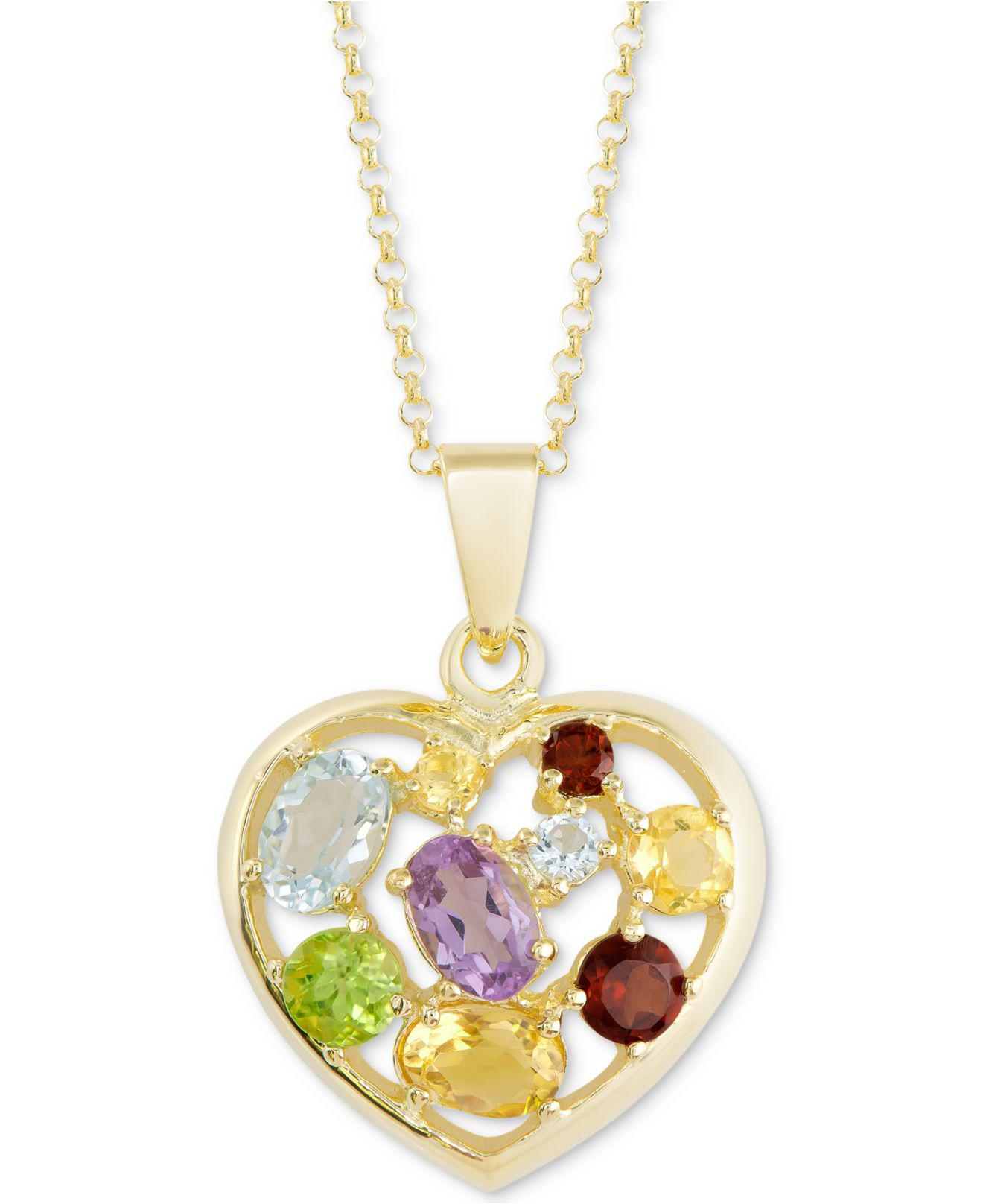 2945f6d0189 Macy's Multi-gemstone Mosaic Heart 18