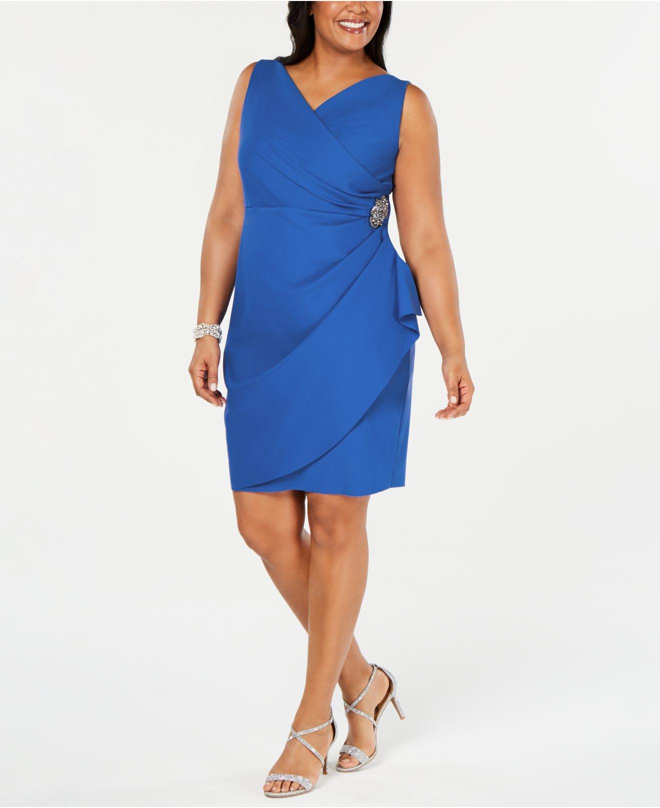 63aaa04c9b84 Lyst - Alex Evenings Plus Size Side-ruched Surplice Sheath Dress in Blue