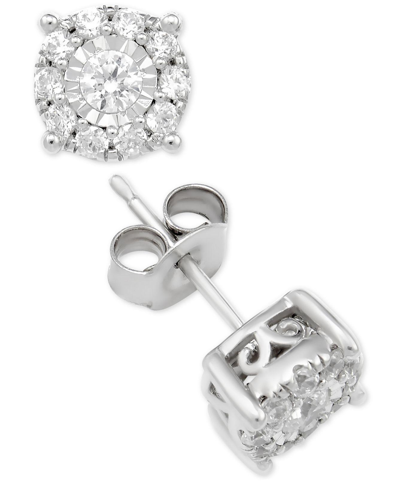 f92a79991a7 Macy s. Women s Metallic Diamond Halo Stud Earrings (1 Ct. T.w.) In 14k White  Gold