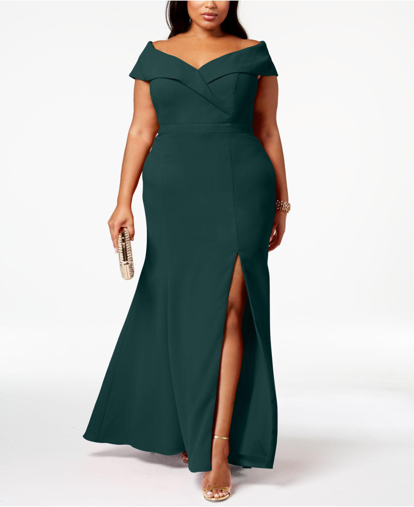 462c727ce71 Lyst - Xscape Plus Size Off-the-shoulder Slit Gown in Green