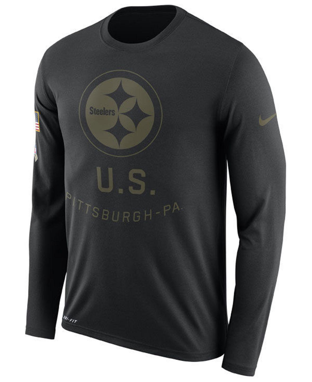 0c16d907794 Nike. Men s Black Pittsburgh Steelers Salute To Service Legend Long Sleeve T -shirt