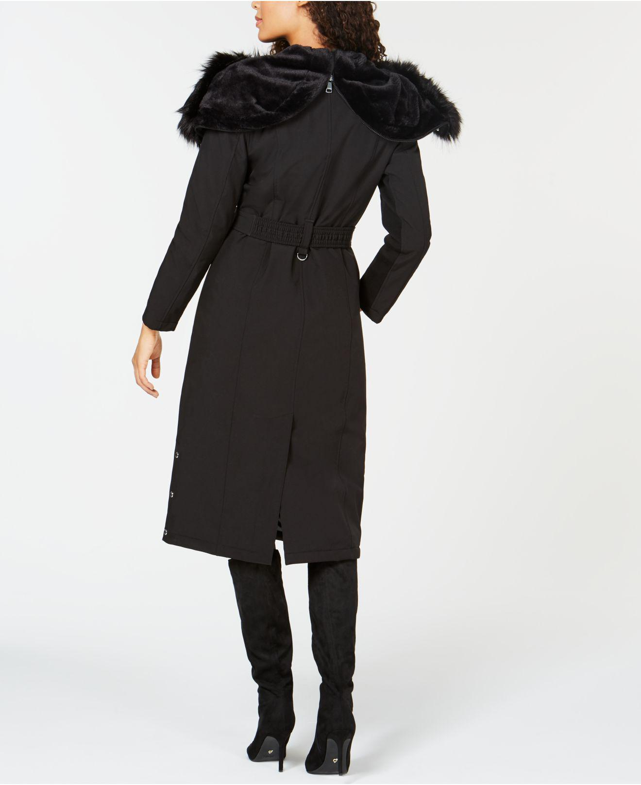 7a8cce1cf6d Lyst - Calvin Klein Faux-fur-trim Hooded Belted Coat in Black