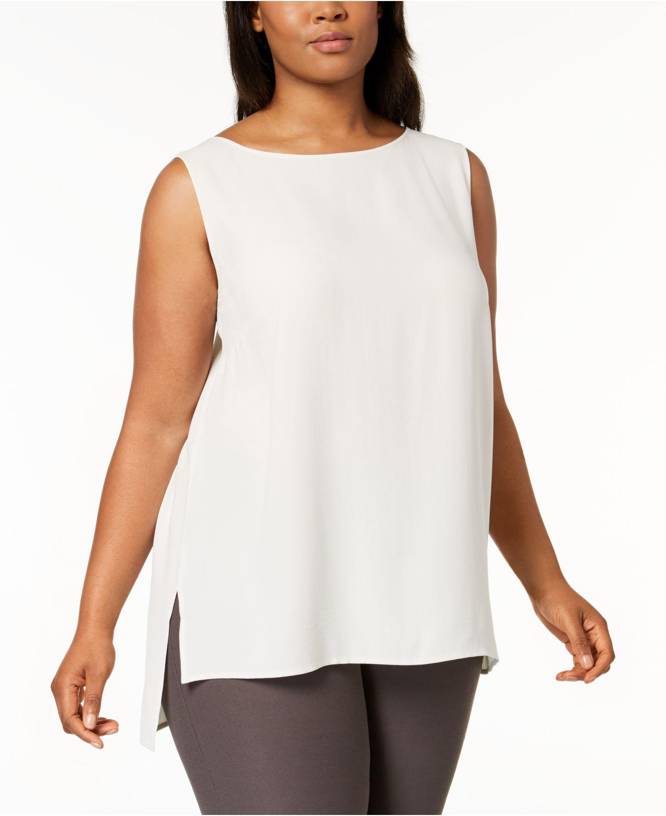 f3763efb7 Lyst - Eileen Fisher Plus Size System Silk High-low Tunic in White