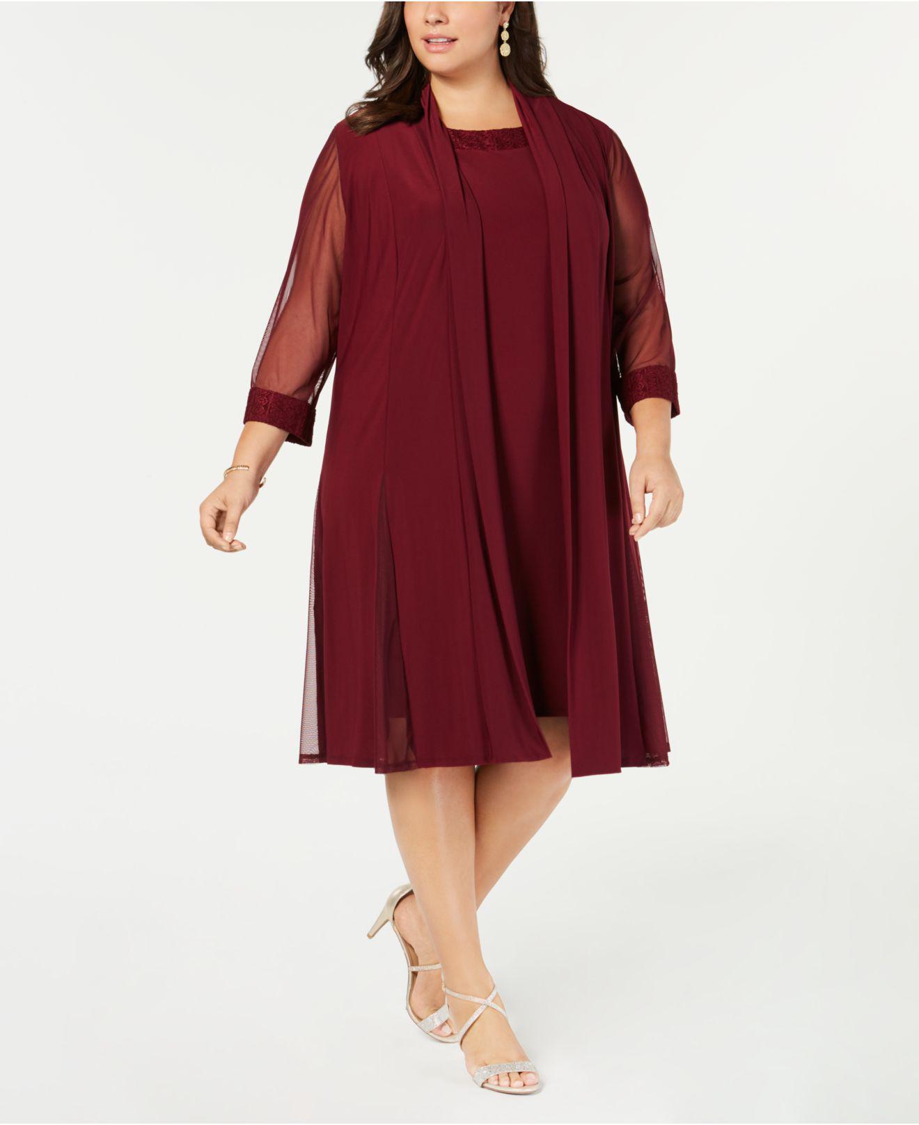 fe1e49d1e40bc R   M Richards Plus-size Embellished Dress   Jacket Set in Red - Lyst