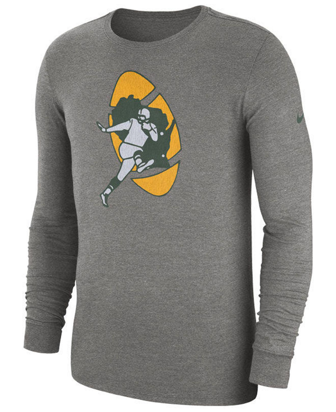 Nike. Men s Gray Green Bay Packers Historic Crackle Long Sleeve Tri-blend T- shirt 81fb2aabb