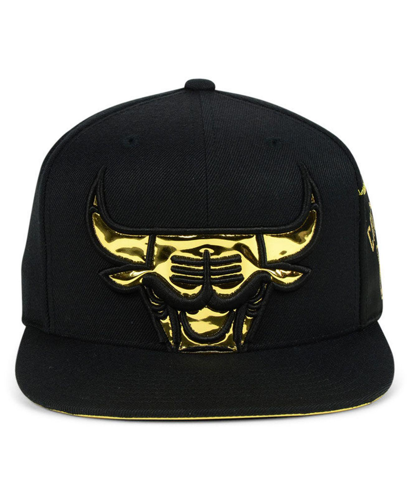 new product b9d9b 3ea7a ... release date lyst mitchell ness chicago bulls patent cropped snapback  cap in 748c1 2c1b0
