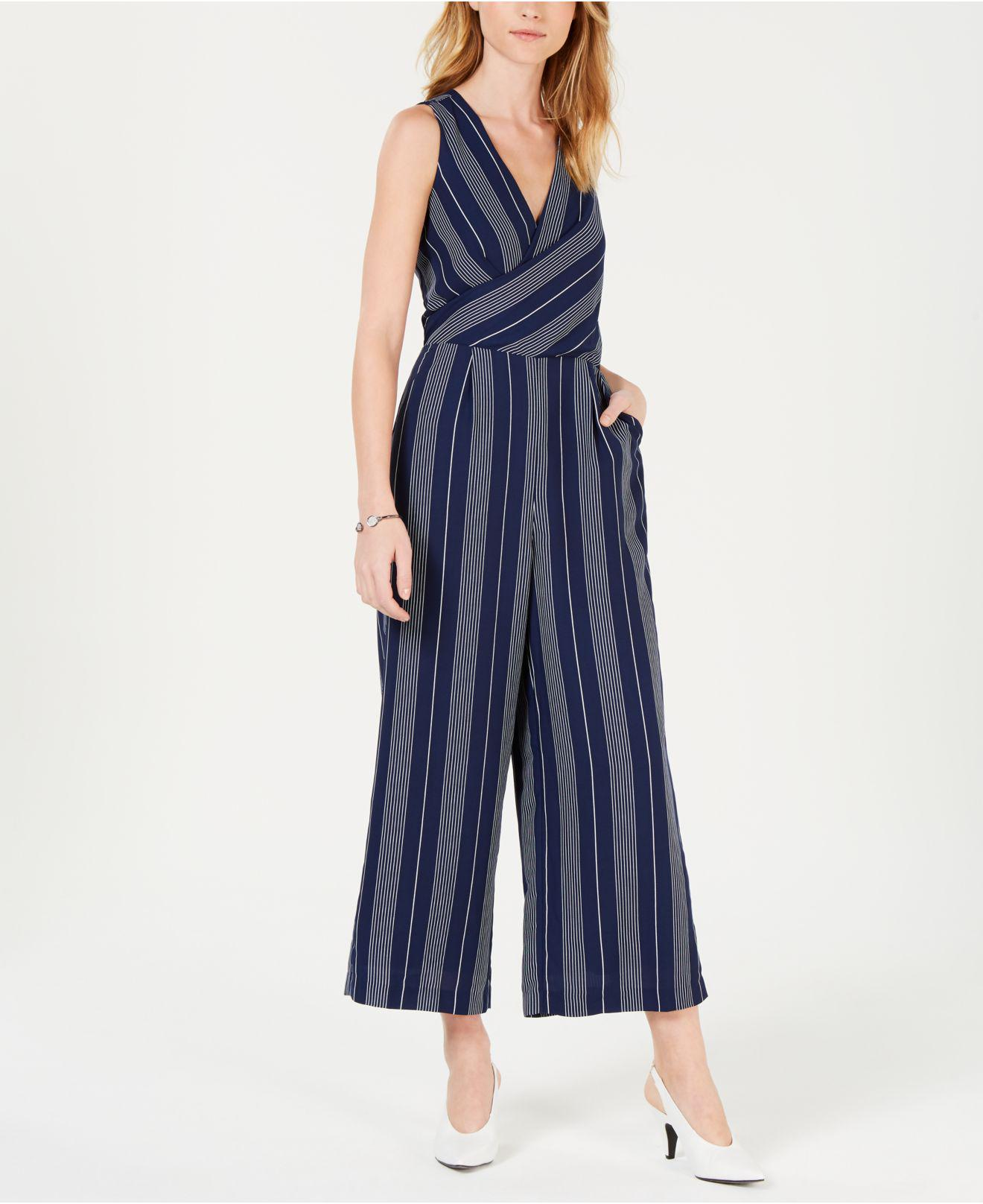 161ccf1c45e4 Maison Jules. Women s Blue Wrap-front Striped Cropped Jumpsuit ...