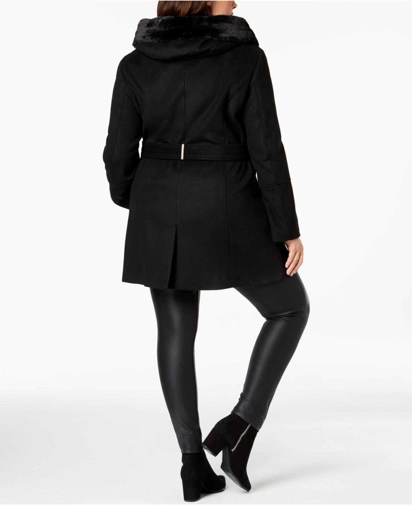 da60ec90c37 Lyst - Calvin Klein Plus Size Faux-fur-trim Belted Coat in Black