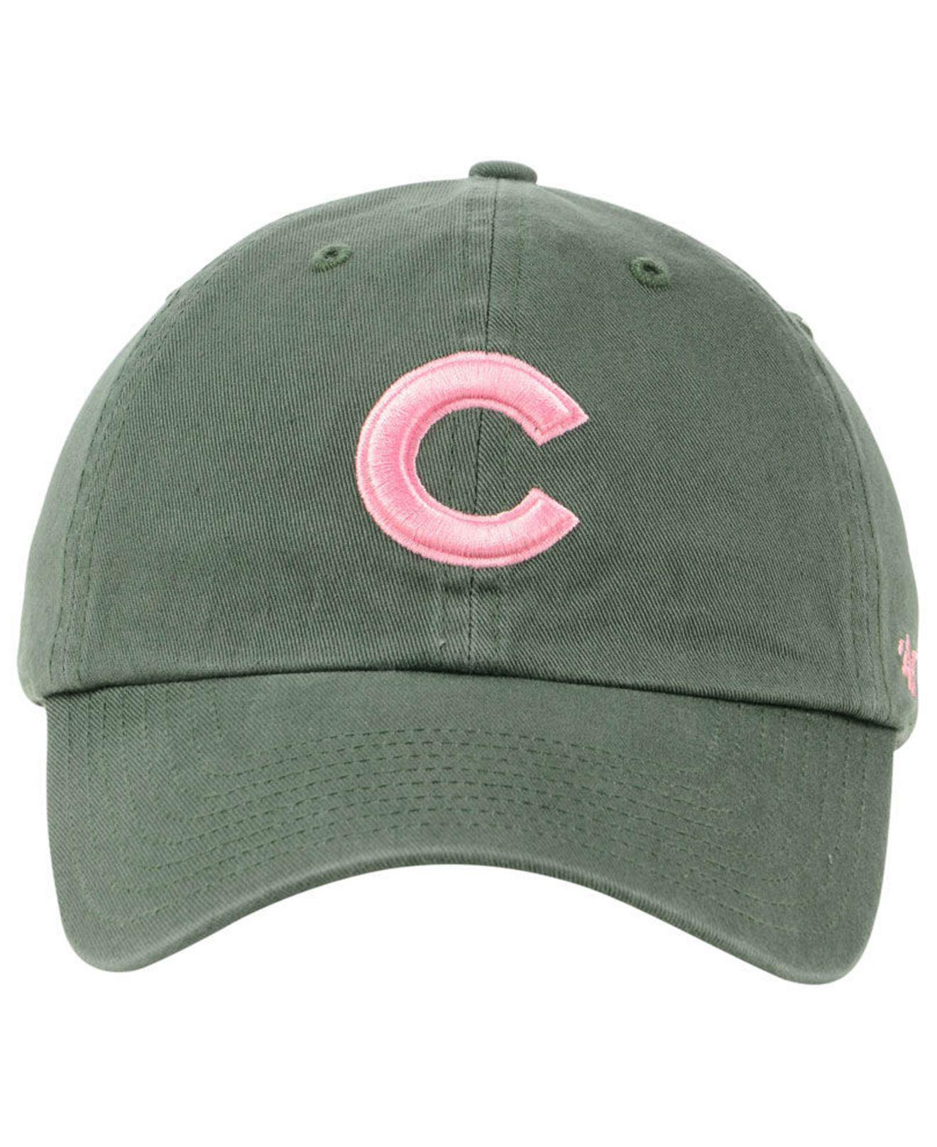check out d25f1 1a5bc ... clearance lyst 47 brand chicago cubs moss pink clean up cap in green  e080f f5cd2