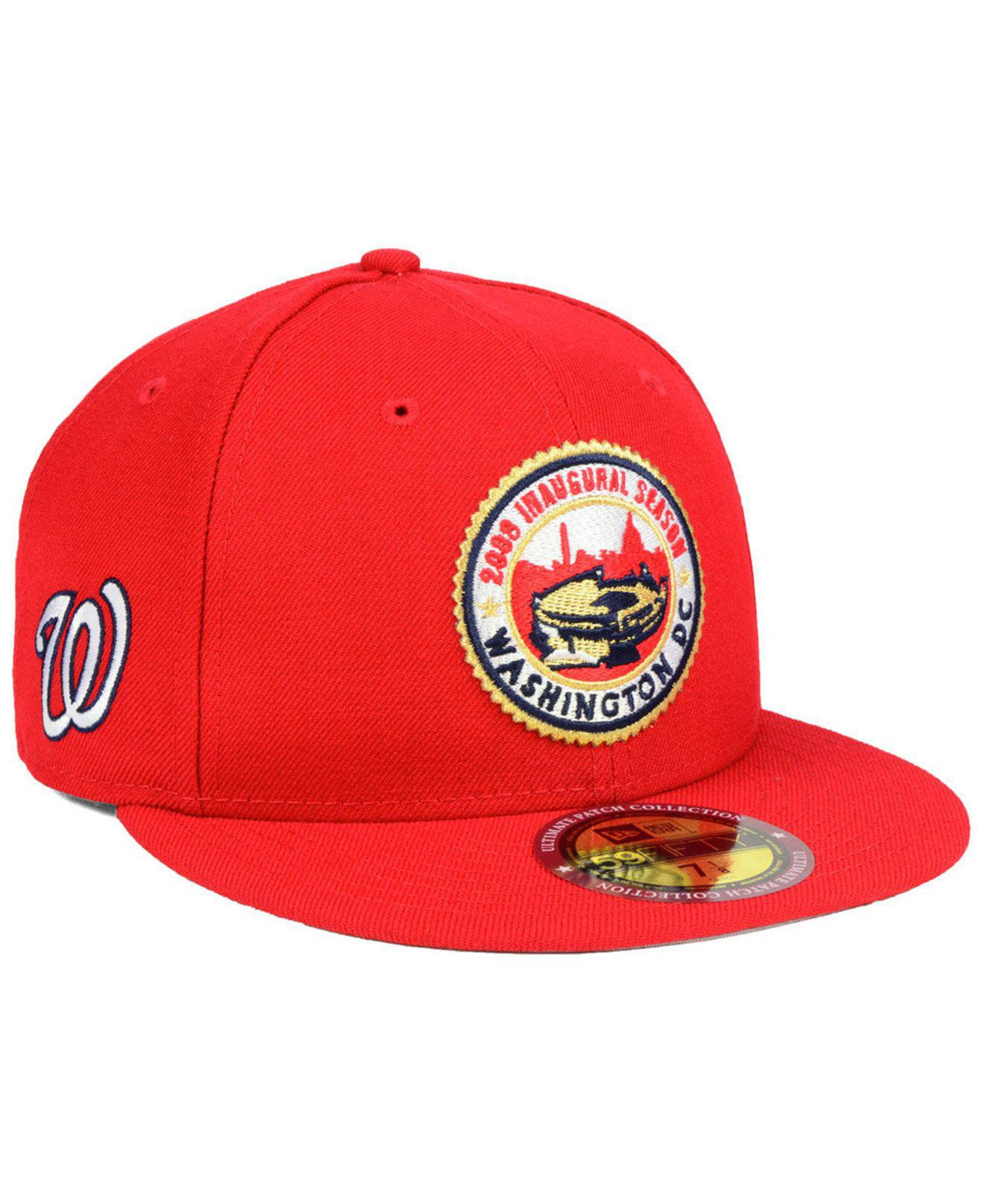 buy online ab076 5e1c5 KTZ. Men s Red Washington Nationals Ultimate Patch Collection Front 59fifty  Fitted Cap