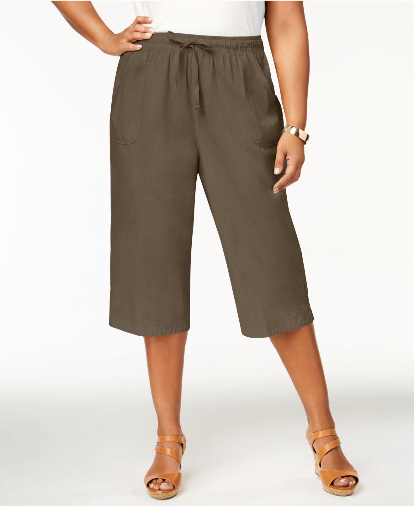 dcd8cf00d3f35 Lyst - Karen Scott Plus Size Cotton Drawstring Capri Pants