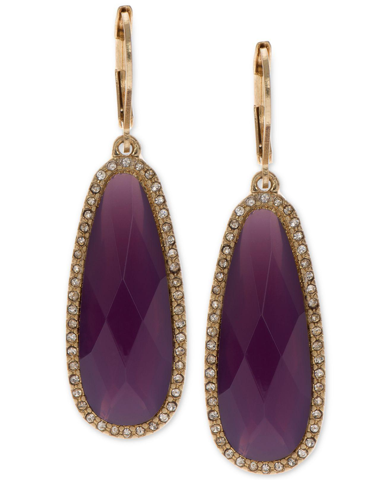 Lonna Lilly Women S Purple Large Stone Drop Earrings