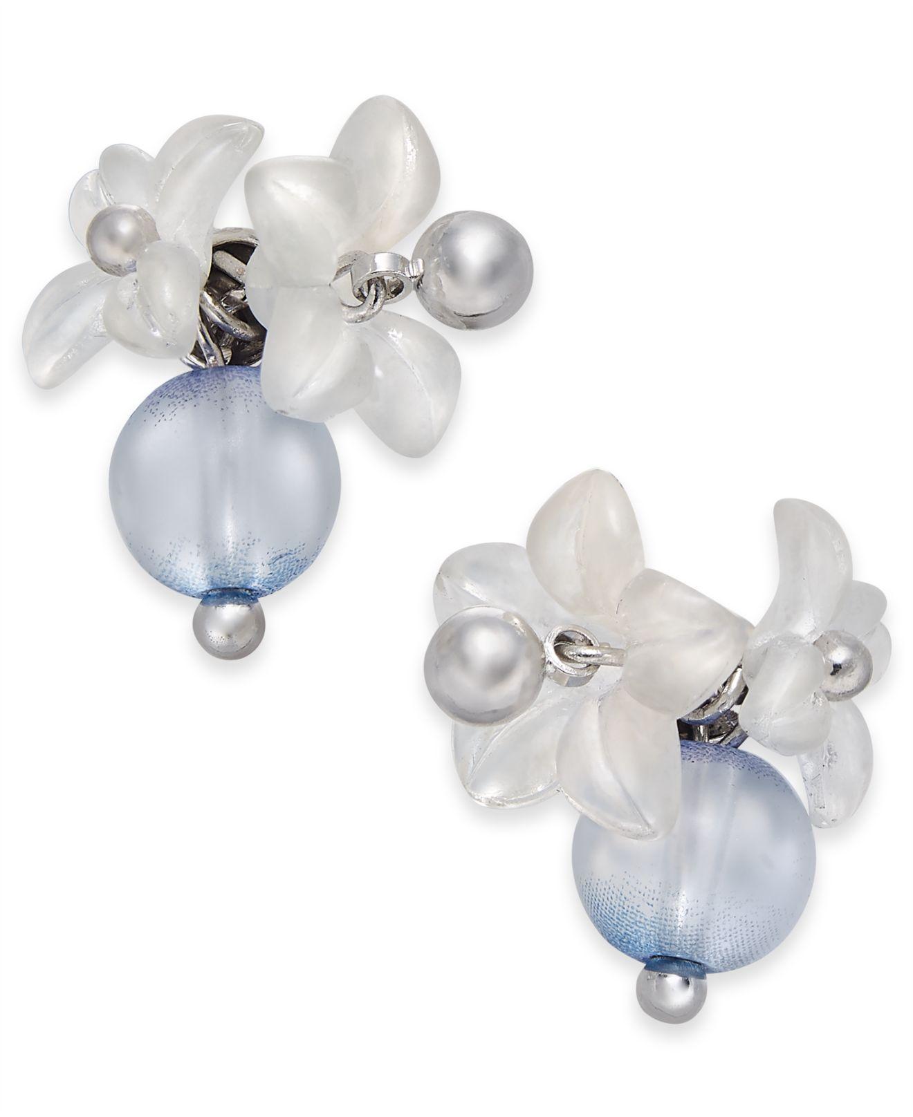 466323632cd3c Lyst - Kate Spade Silver-tone Blue Floret Stud Earrings in Blue