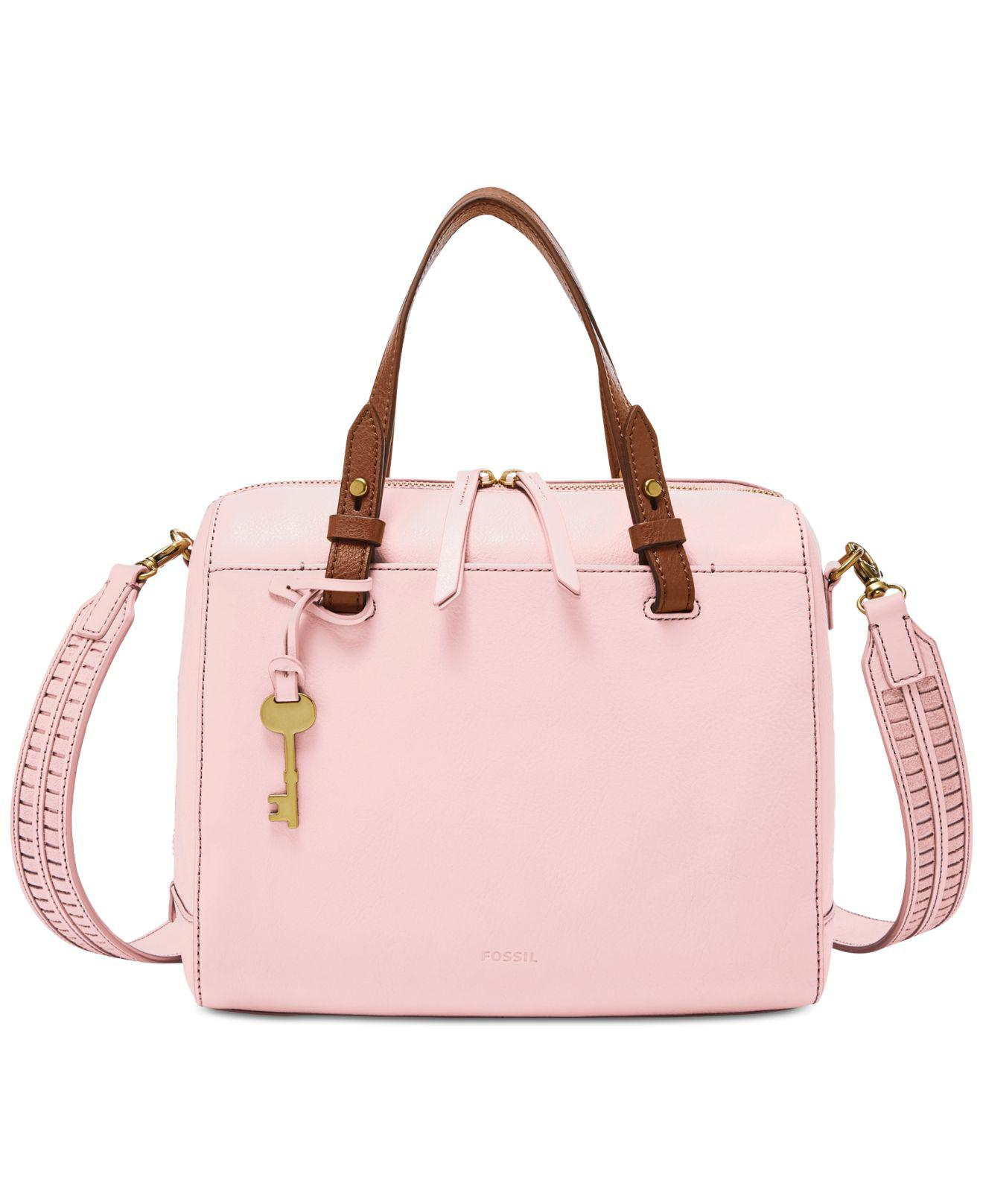 Fossil Rachel Satchel Handbag, Sea Pink
