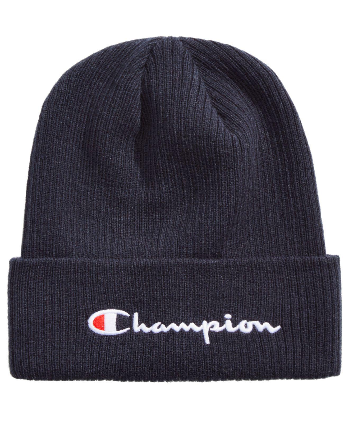 91108260a44ef Champion - Blue Cuffed Ribbed-knit Beanie for Men - Lyst. View fullscreen