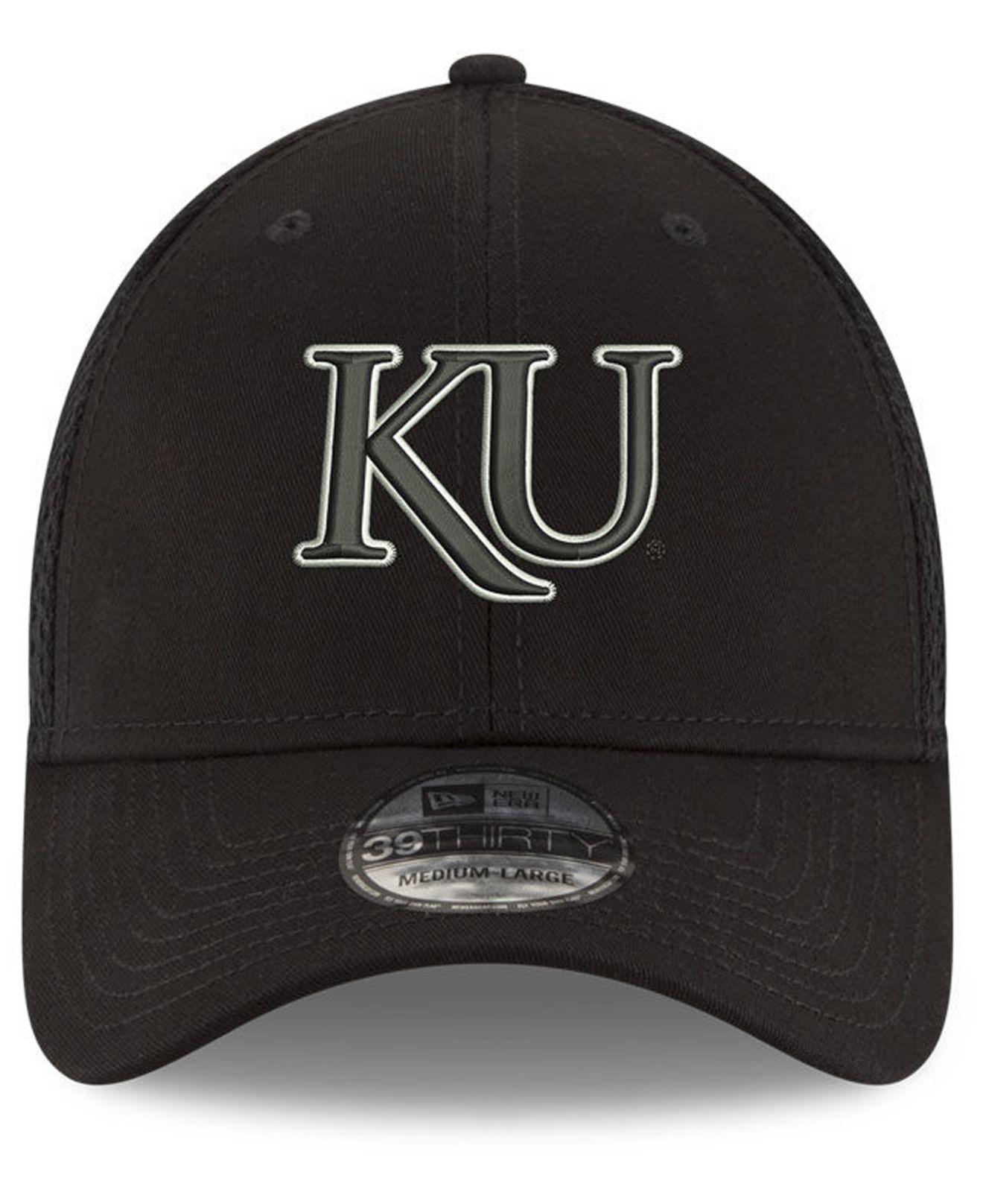 new concept b2738 9ca42 Lyst - KTZ Kansas Jayhawks Black White Neo 39thirty Cap in Black for Men