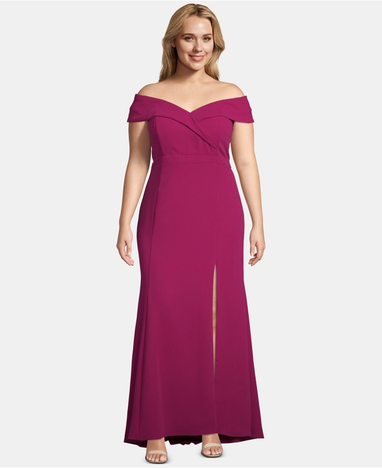0f102a69c5331 Lyst - Xscape Plus Size Off-the-shoulder Slit Gown in Purple