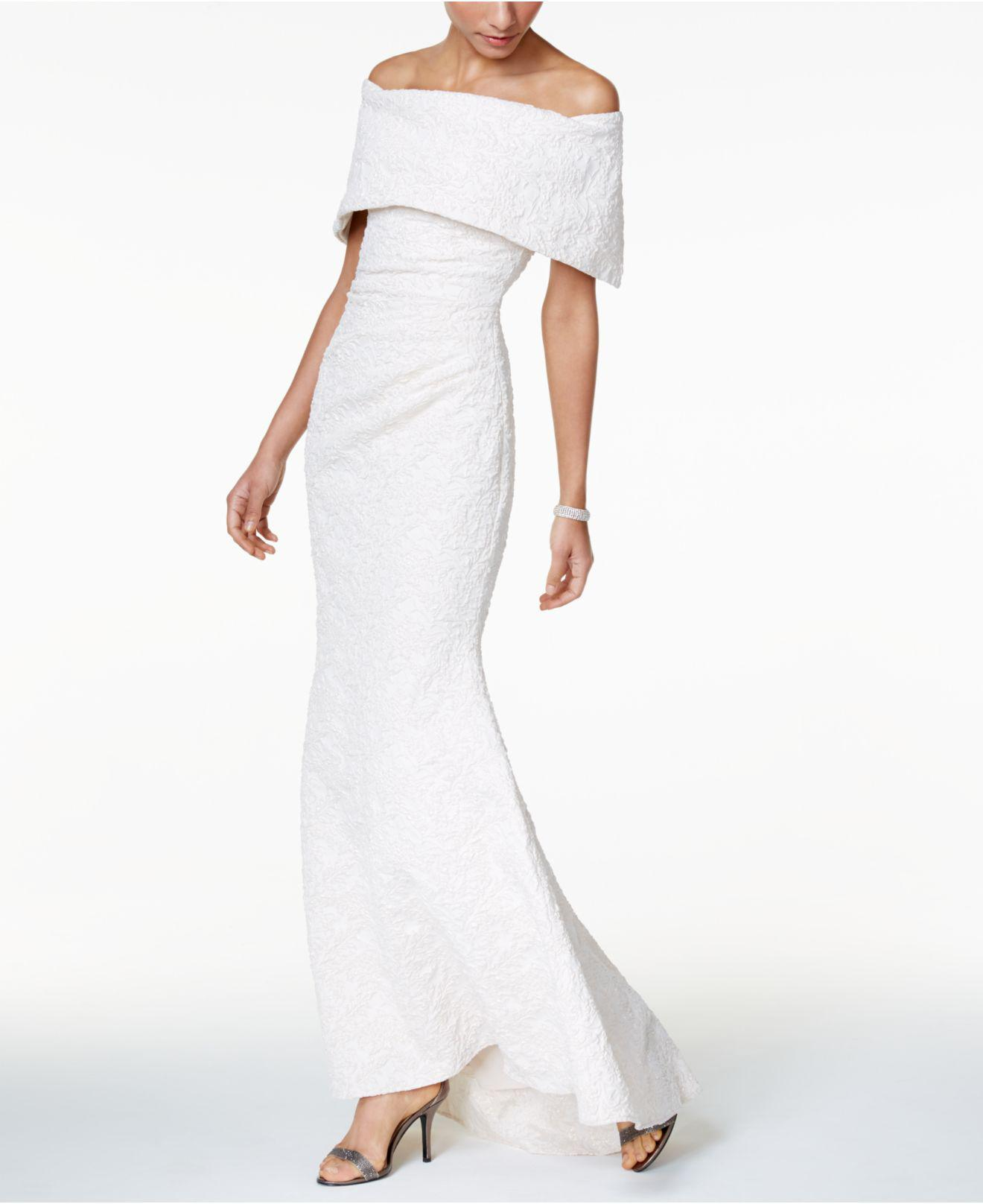 37abe60d Betsy & Adam Off-the-shoulder Jacquard Mermaid Gown in White - Lyst