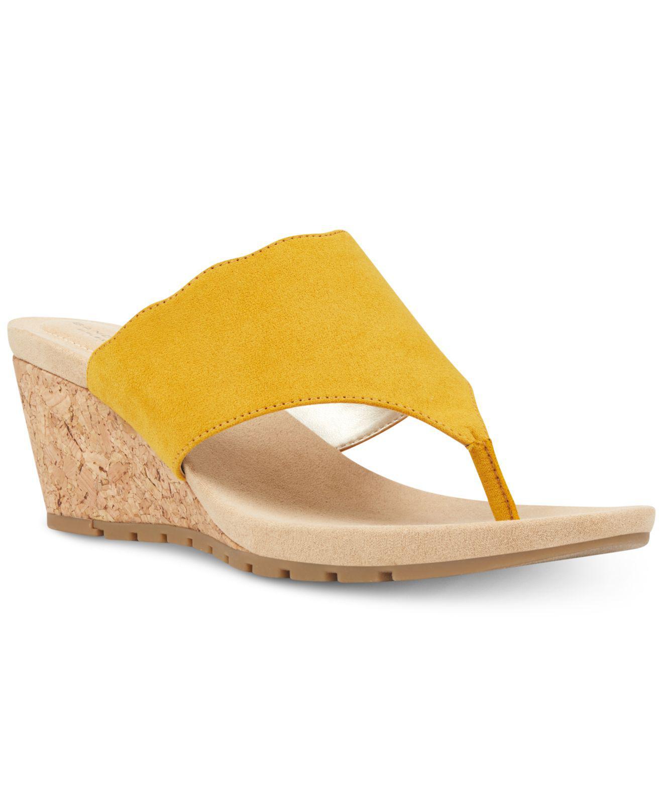 746e918452b5c6 Lyst - Bandolino Sarita Slip-on Wedge Sandals in Yellow