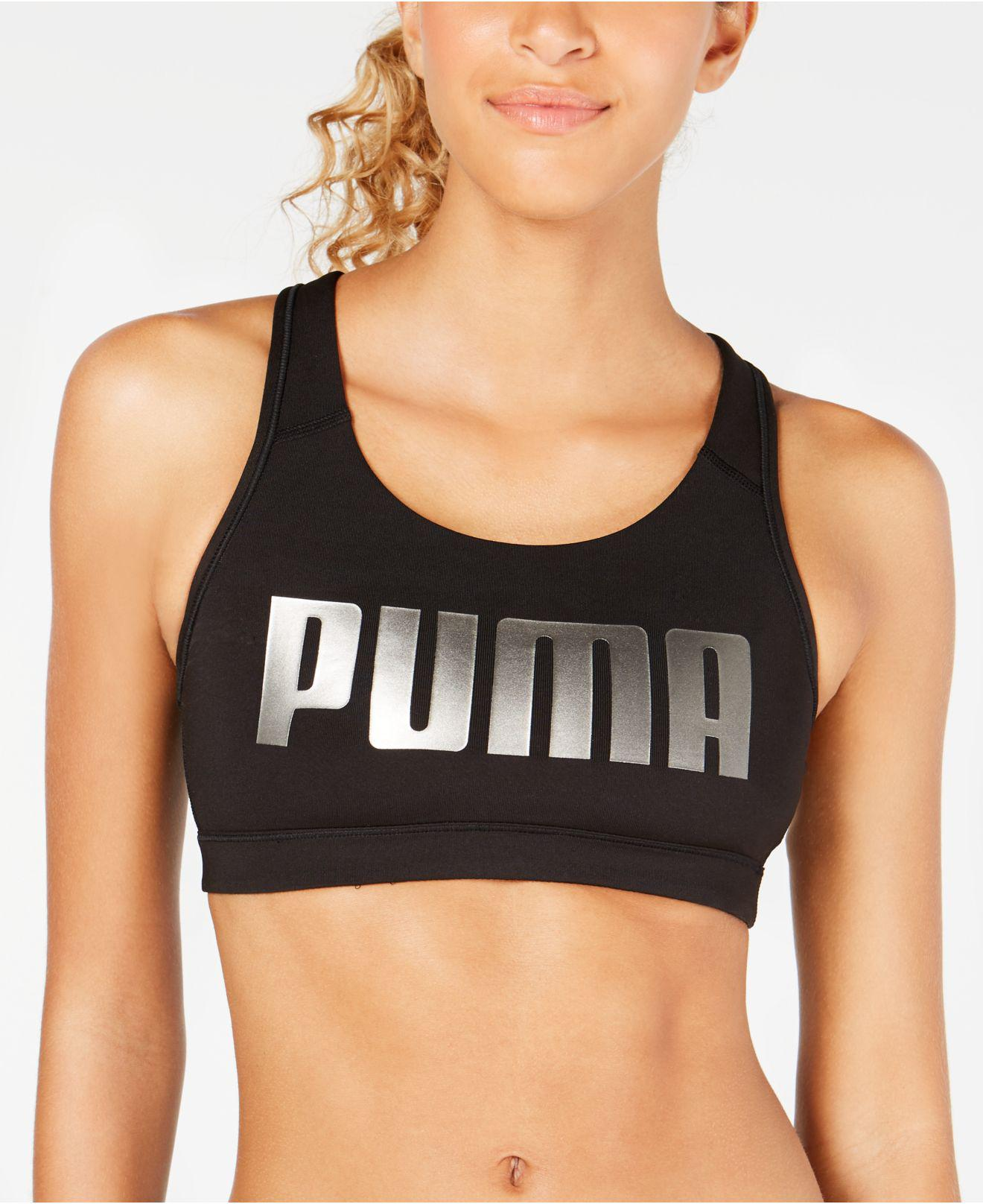 3f78e11032 PUMA - Black 4keeps Mid-impact Racerback Sports Bra - Lyst. View fullscreen