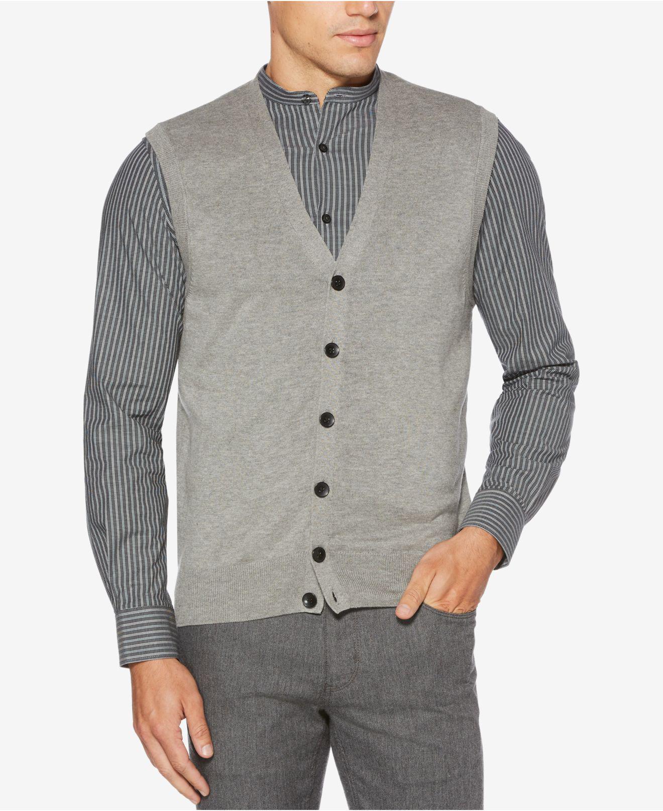 5d4571c6e3 Lyst - Perry Ellis Sweater Vest in Gray for Men